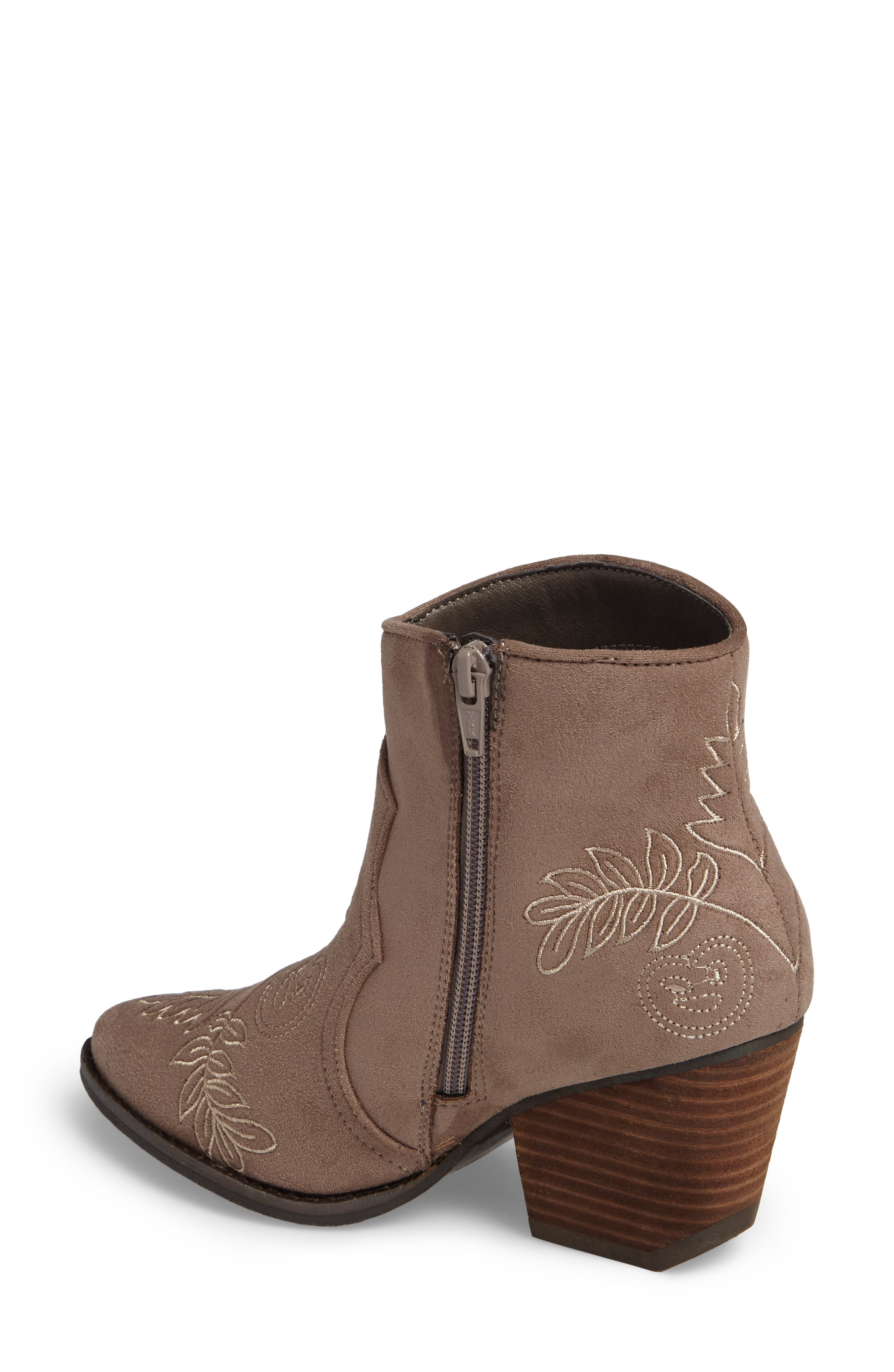 Axis Embroidered Bootie,                             Alternate thumbnail 2, color,                             Taupe Suede