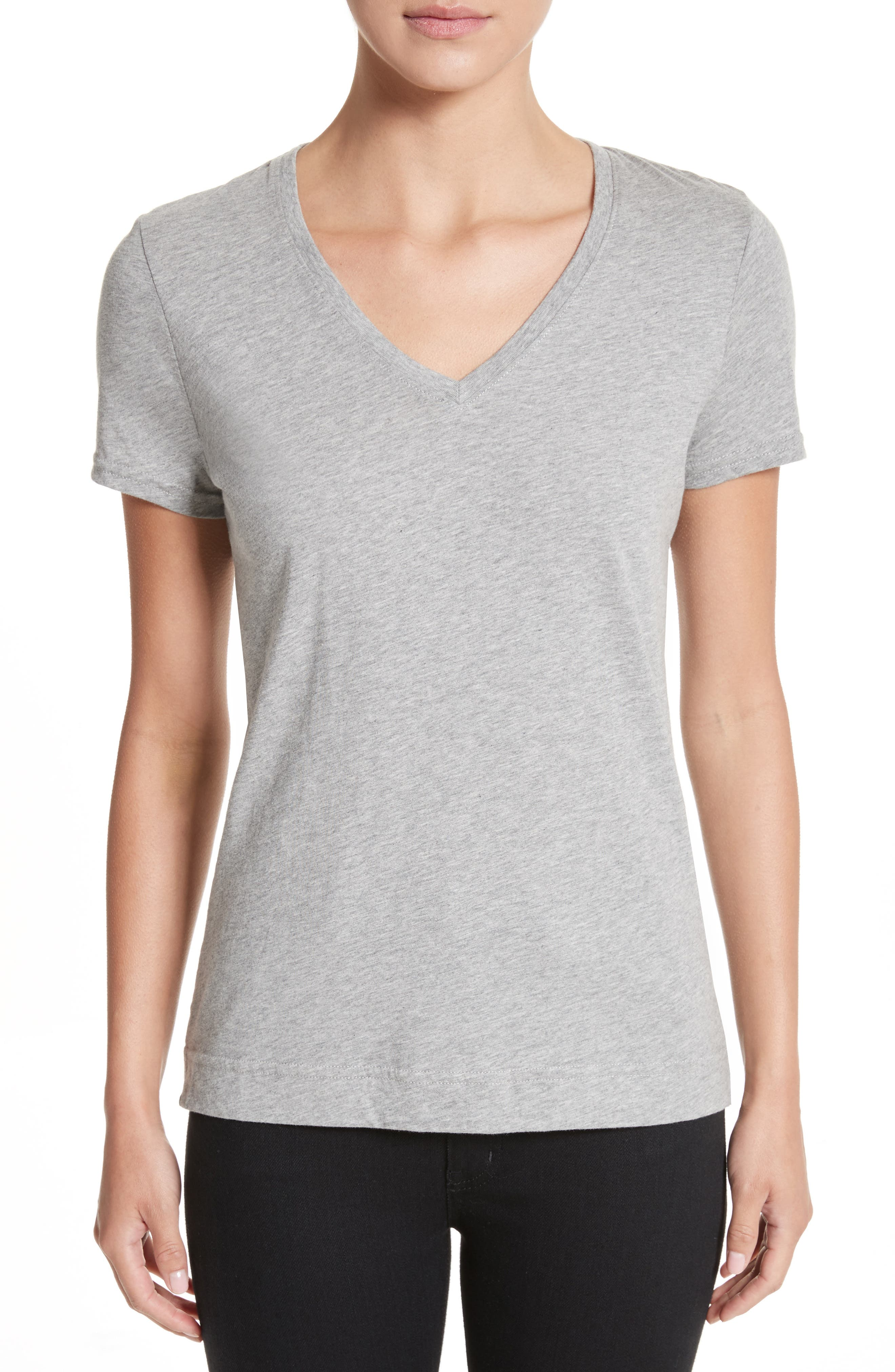 Adam lippes pima cotton short sleeve v neck t shirt grey for Adam lippes t shirt