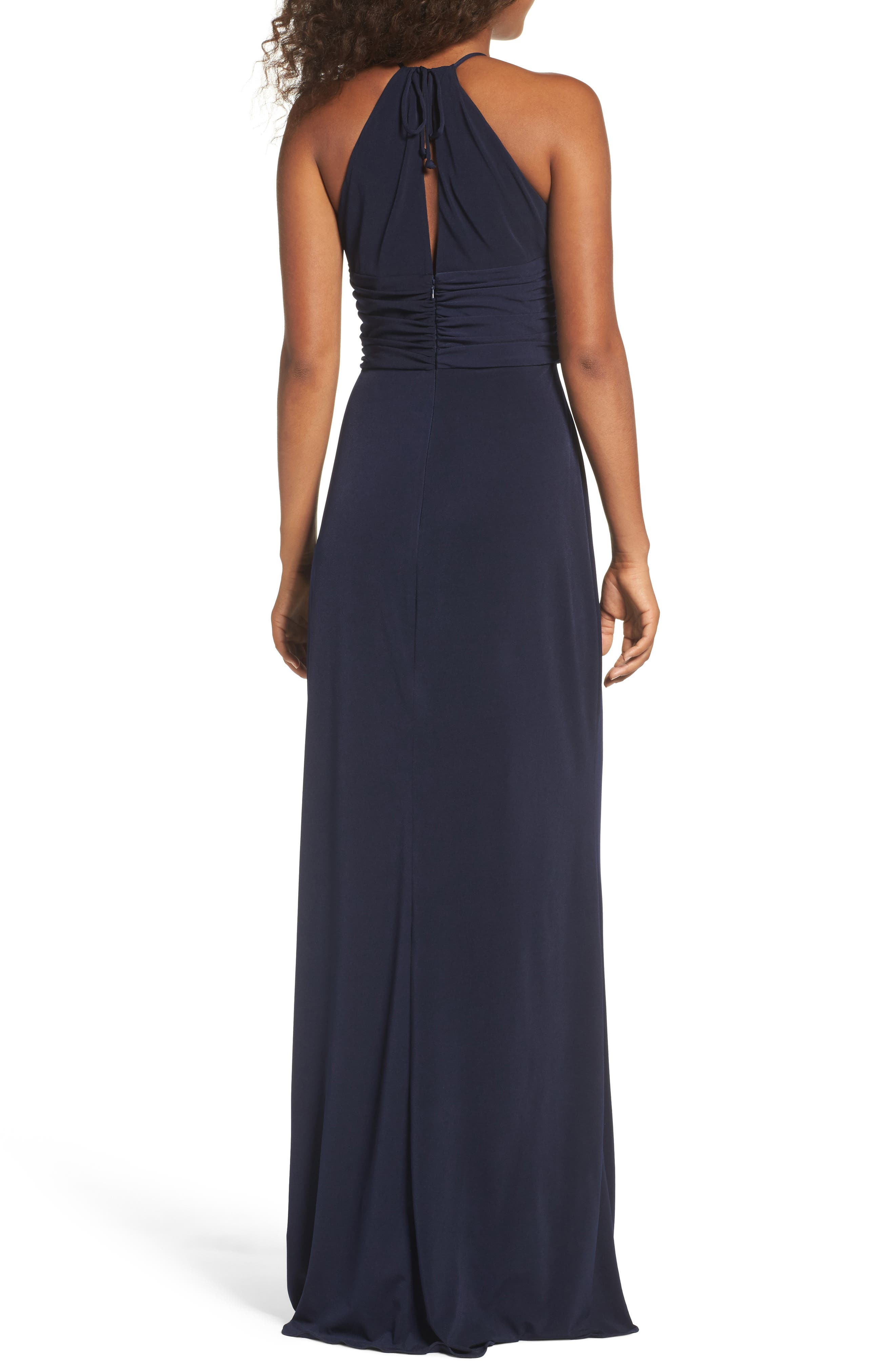 Jones Ruched Halter Gown,                             Alternate thumbnail 2, color,                             Navy