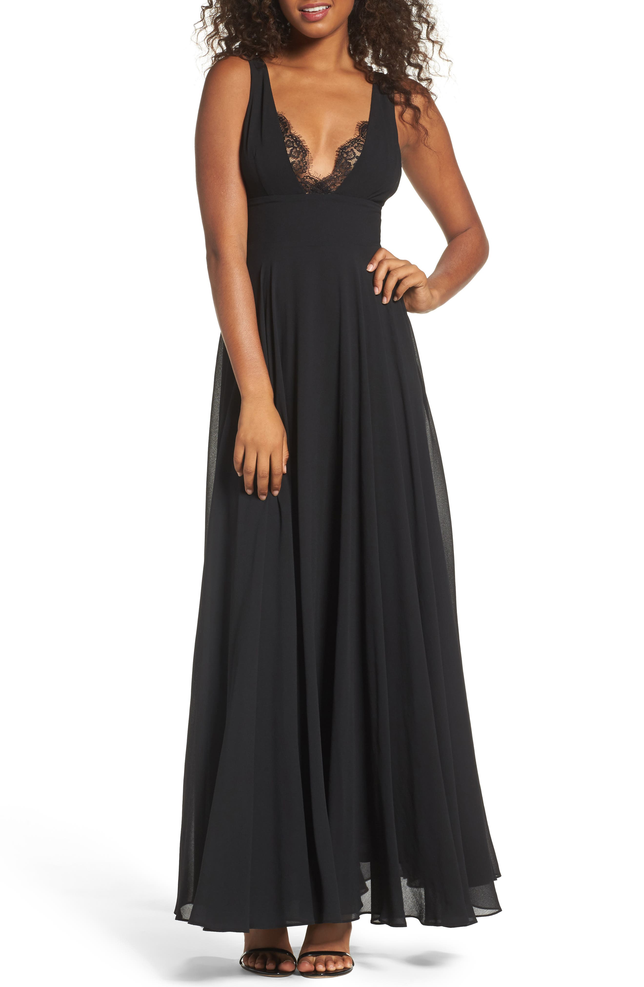 Lace Trim Chiffon Maxi Dress,                             Main thumbnail 1, color,                             Black