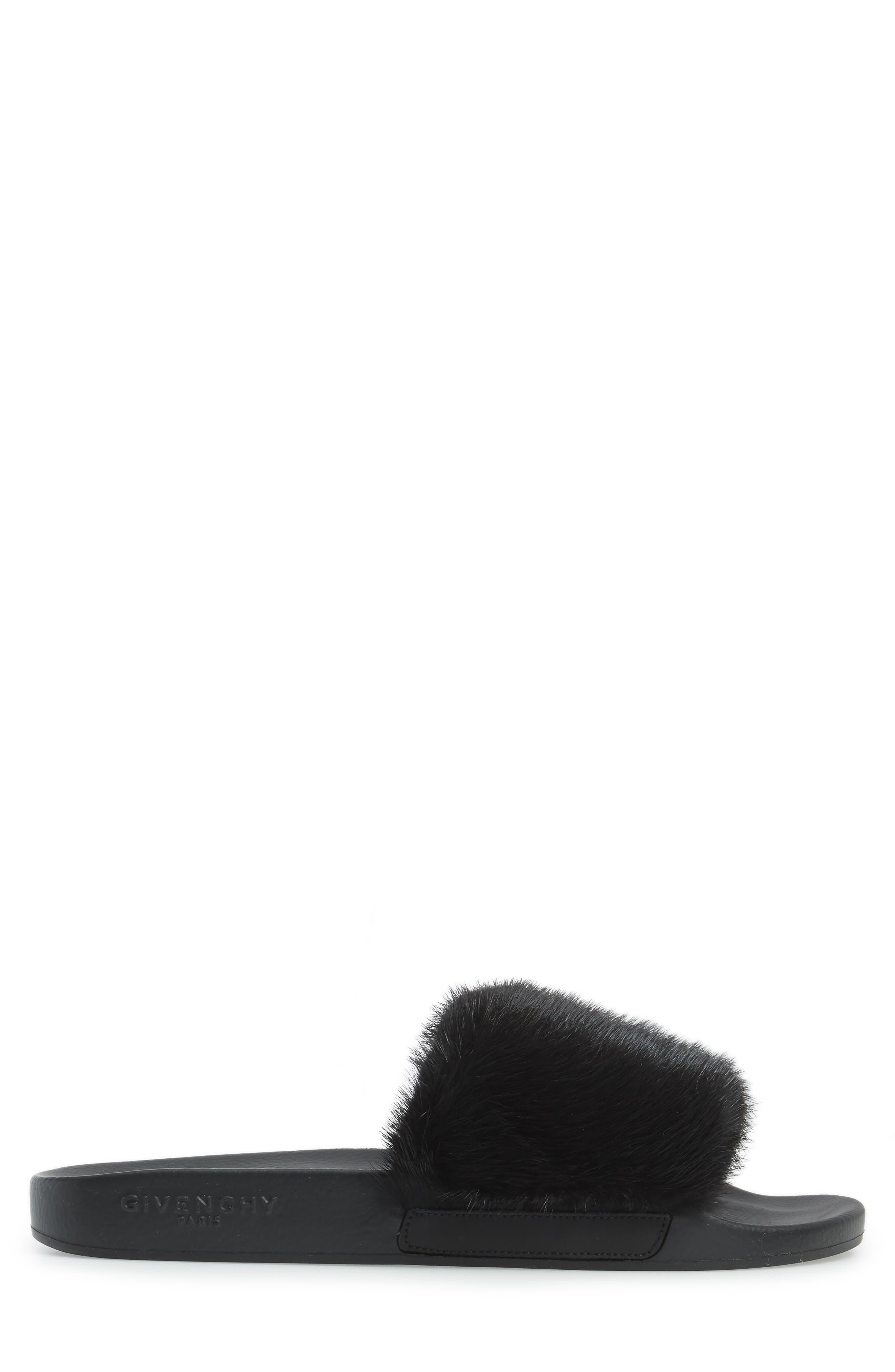Genuine Mink Fur Slide Sandal,                             Alternate thumbnail 3, color,                             Black