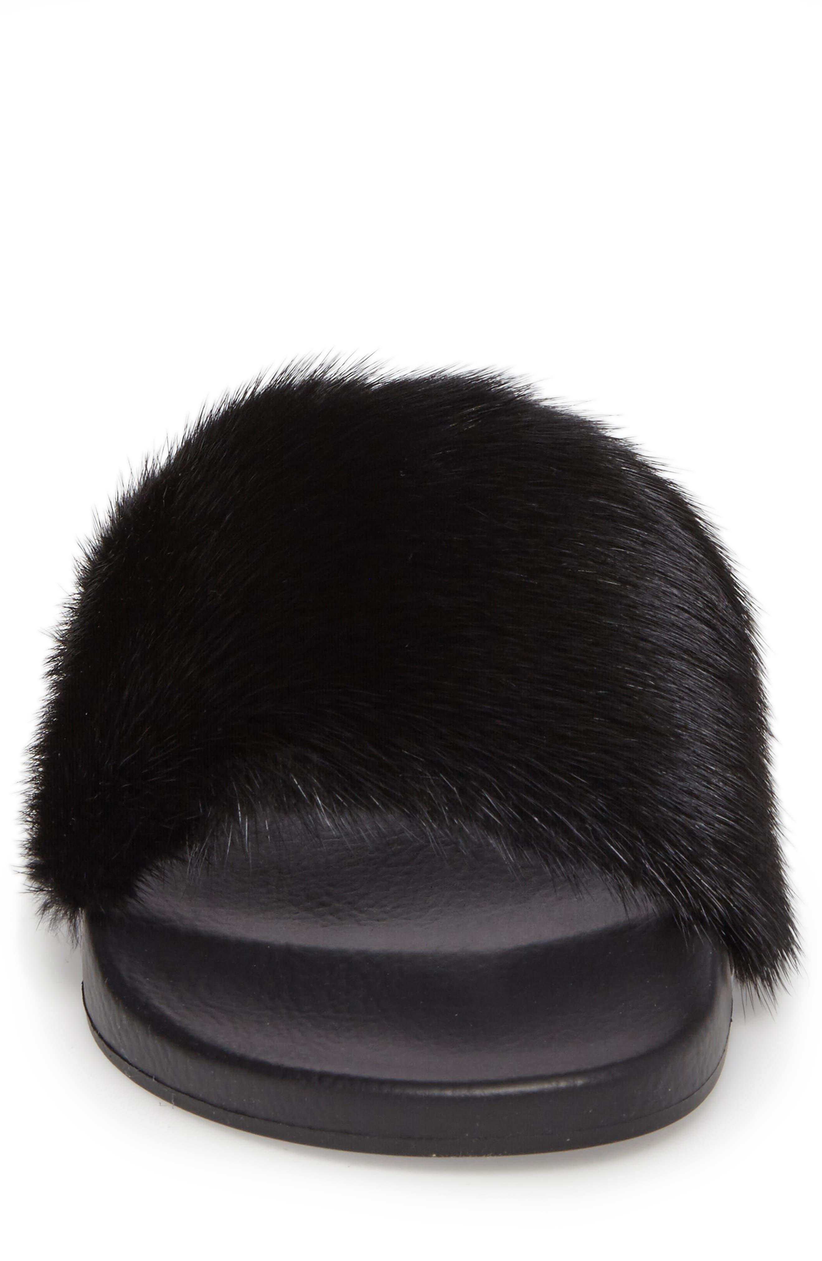 Genuine Mink Fur Slide Sandal,                             Alternate thumbnail 4, color,                             Black
