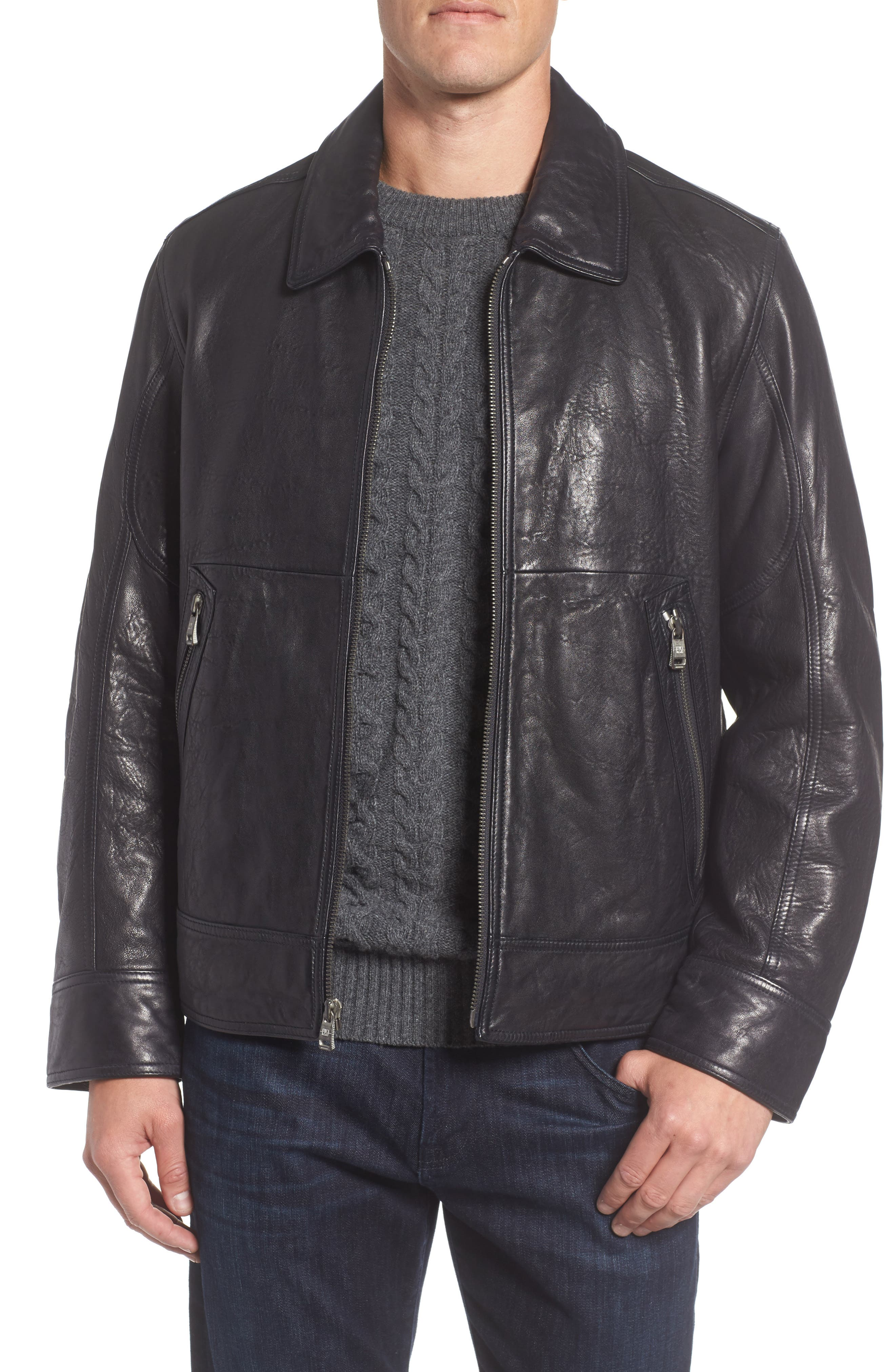 Morrison Spread Collar Leather Jacket,                         Main,                         color, Ink