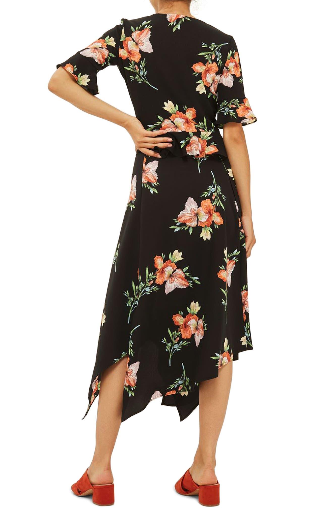 Alternate Image 2  - Topshop Sunset Iris Handkerchief Hem Skirt