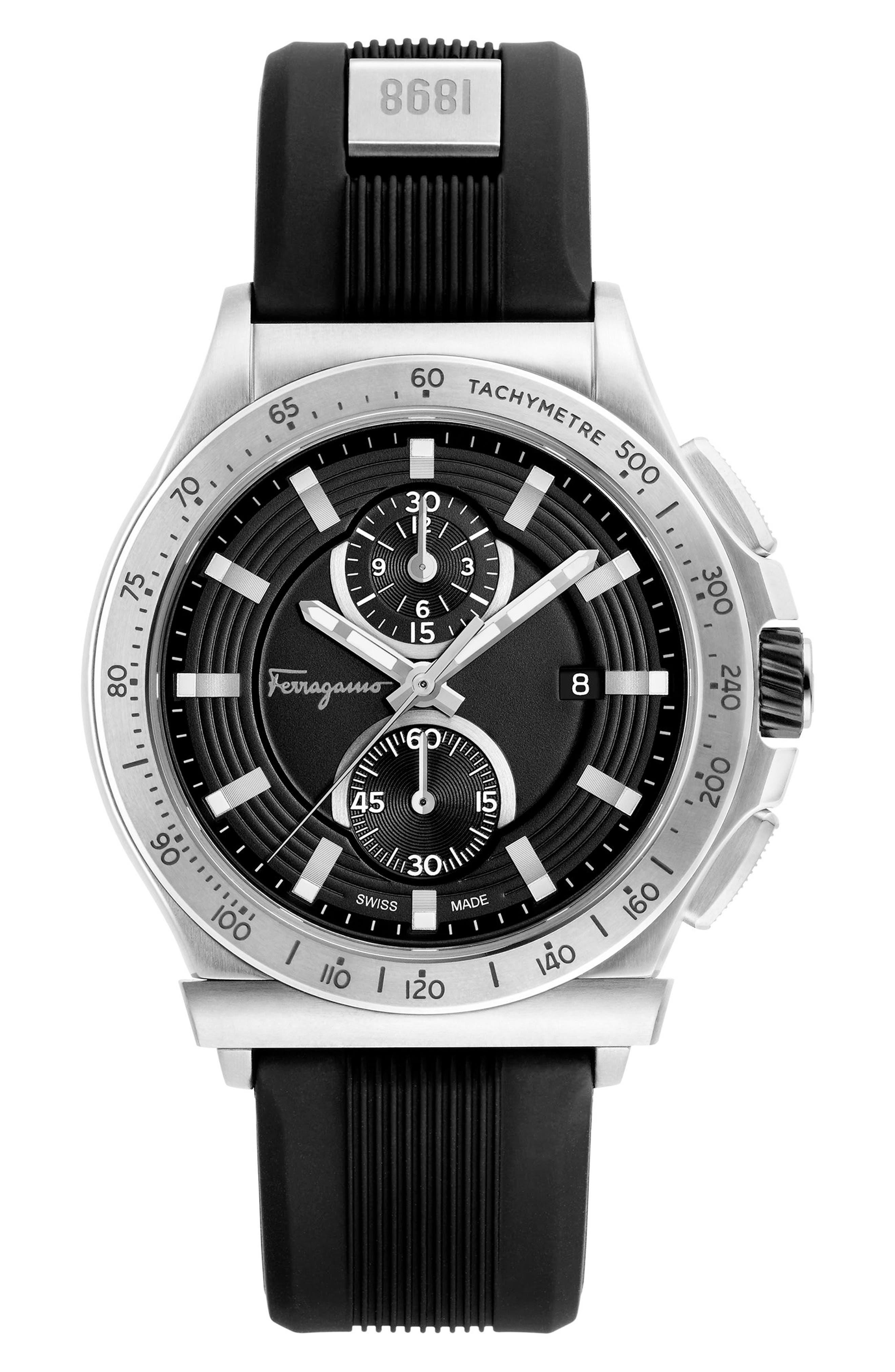 Salvatore Ferragamo 1898 Sport Chronograph Silicone Strap Watch, 44mm