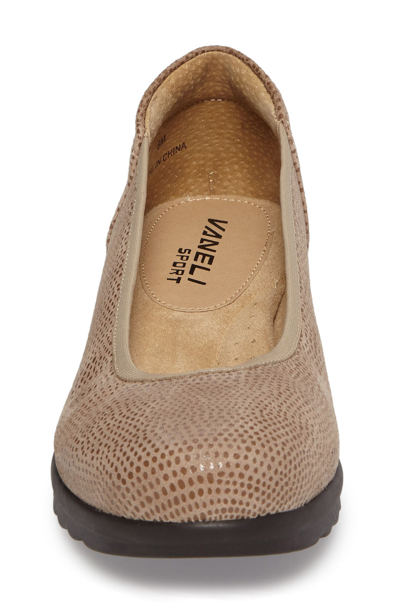 Donia Flat,                             Alternate thumbnail 4, color,                             Taupe Print Fabric