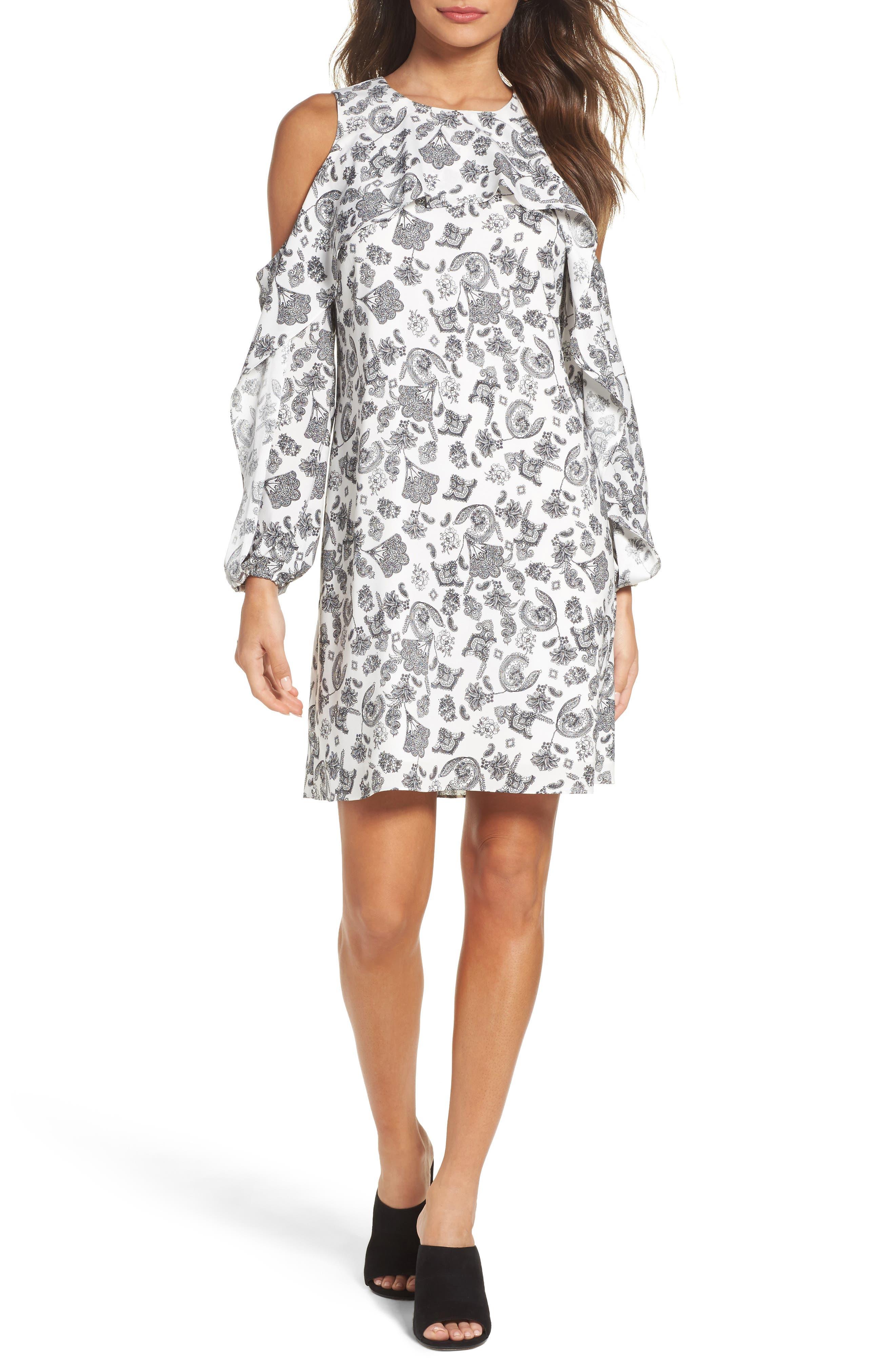 Amber Cold Shoulder Shift Dress,                         Main,                         color, Ivory Multi