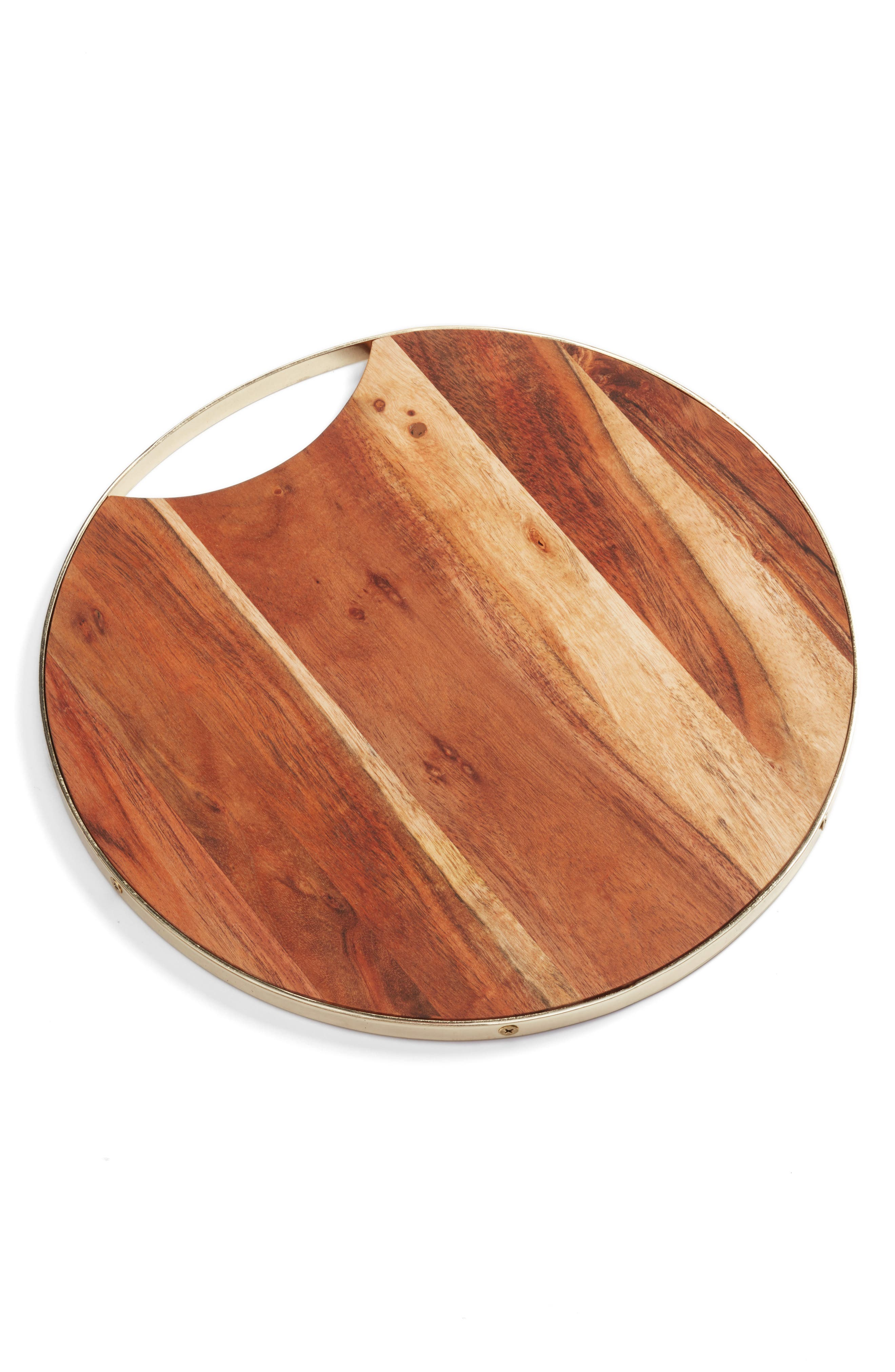 Round Wood Cutting Board,                         Main,                         color, Brown/ Gold