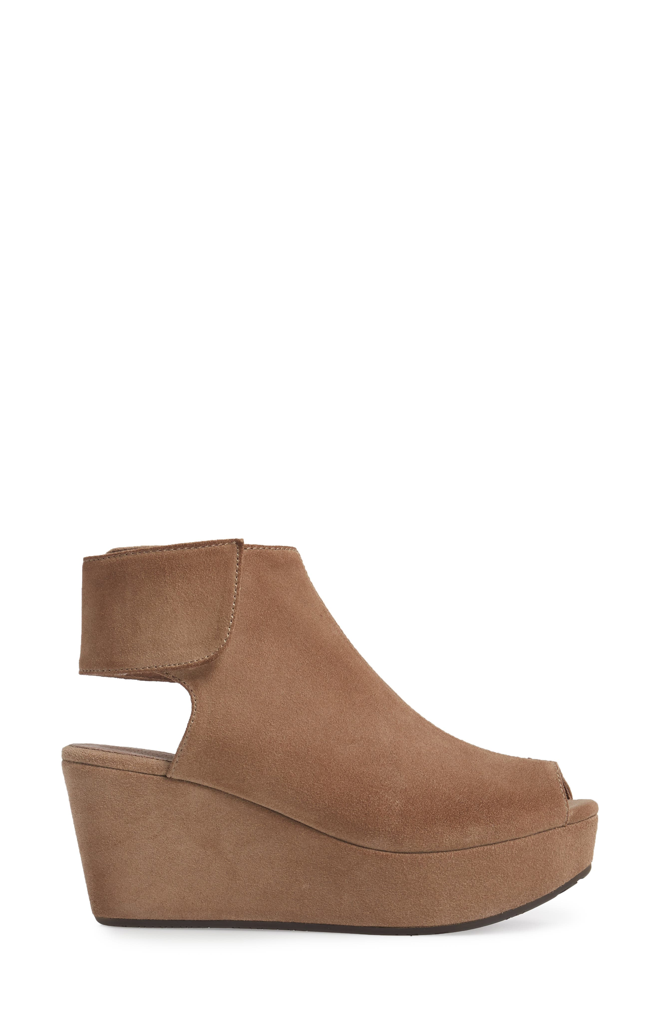 Cutout Wedge Sandal,                             Alternate thumbnail 3, color,                             Taupe Suede