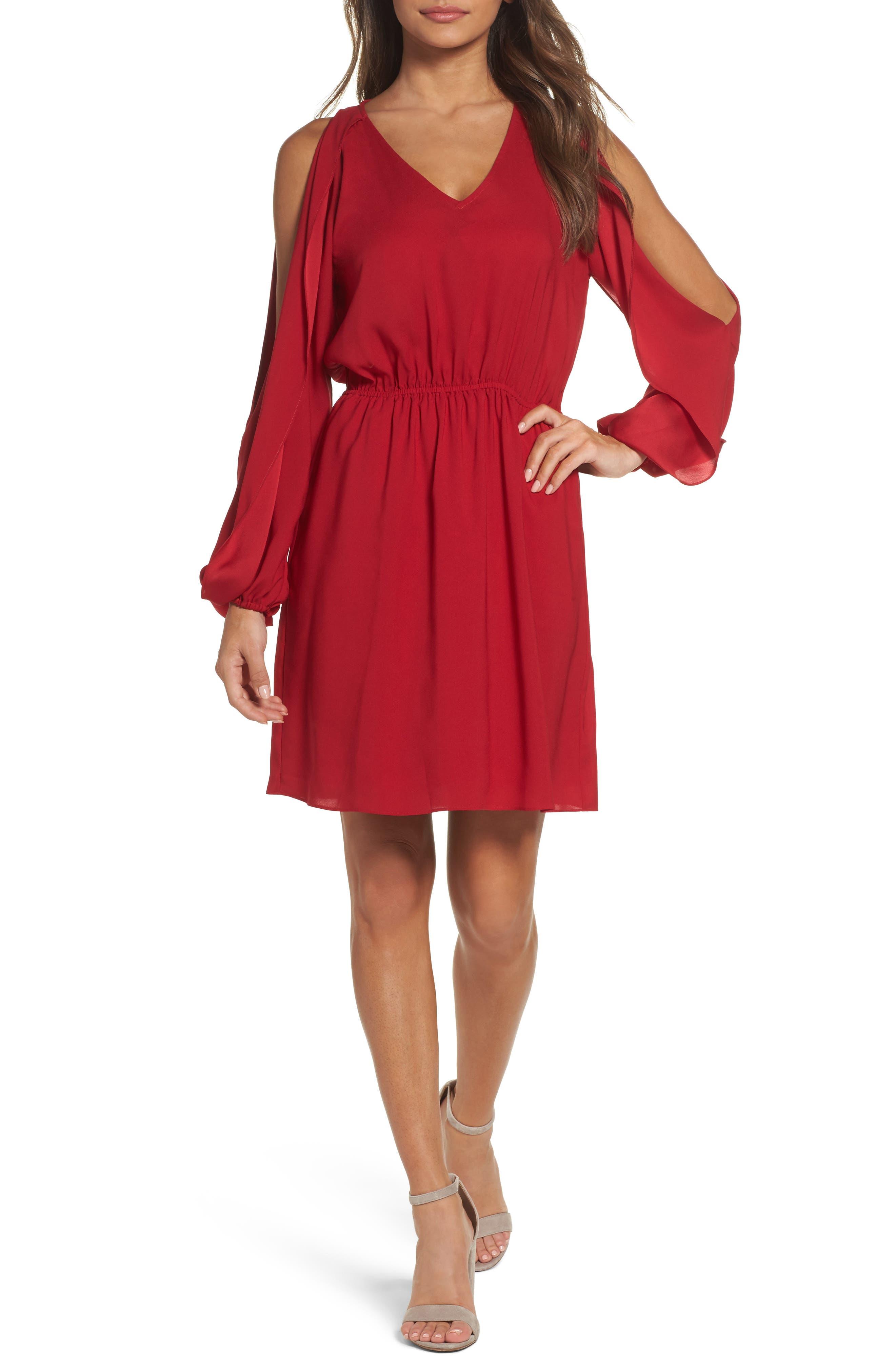 Cold Shoulder Dress,                             Main thumbnail 1, color,                             Cherry