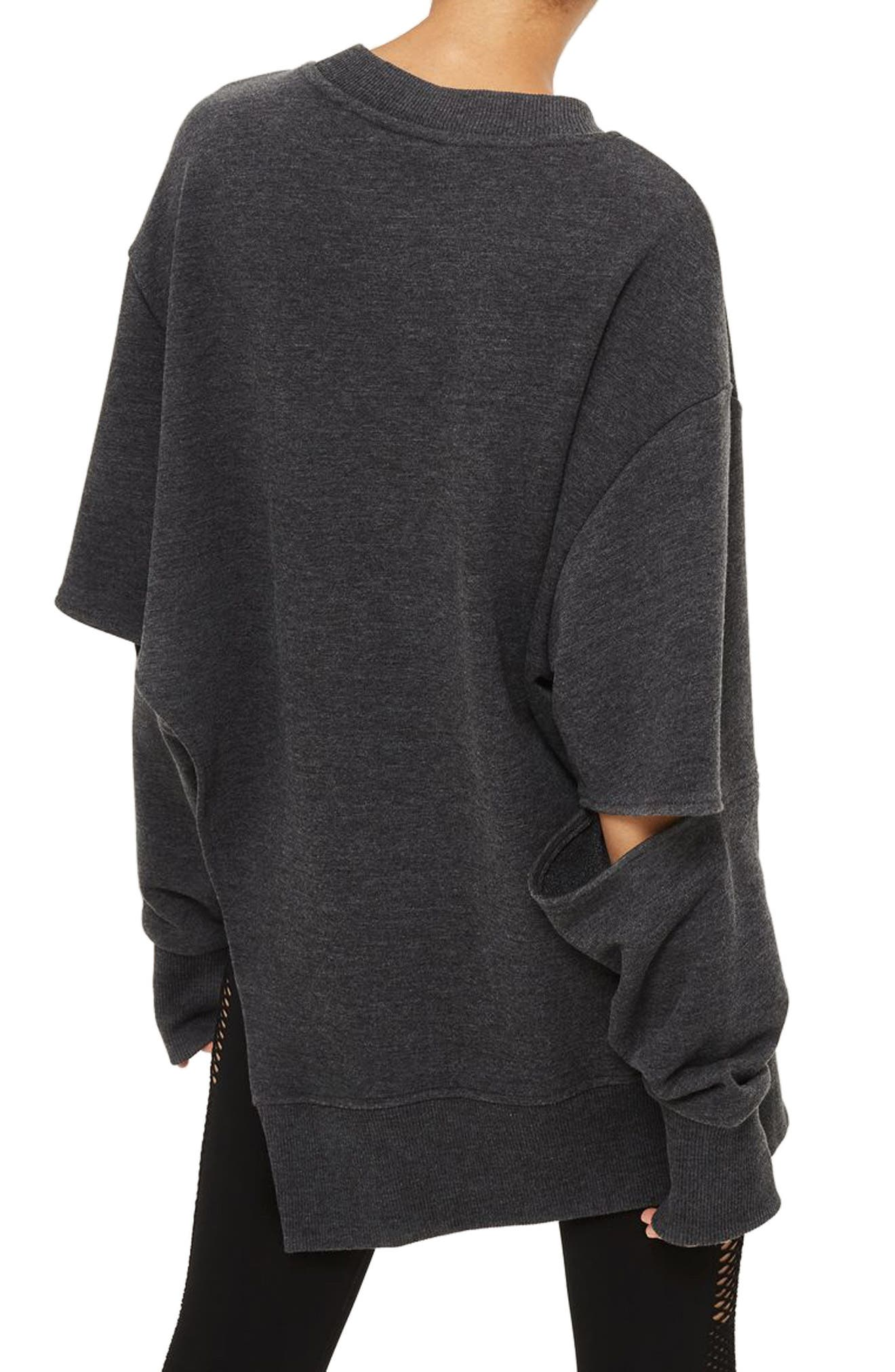 Logo Embossed Sliced Sweatshirt,                             Alternate thumbnail 2, color,                             Charcoal Marl