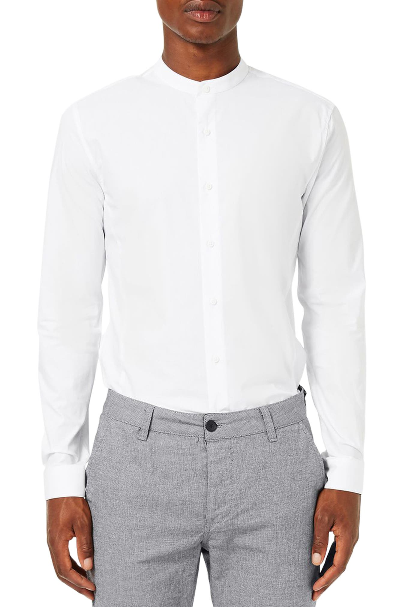 Band Collar Skinny Fit Dress Shirt,                             Main thumbnail 1, color,                             White
