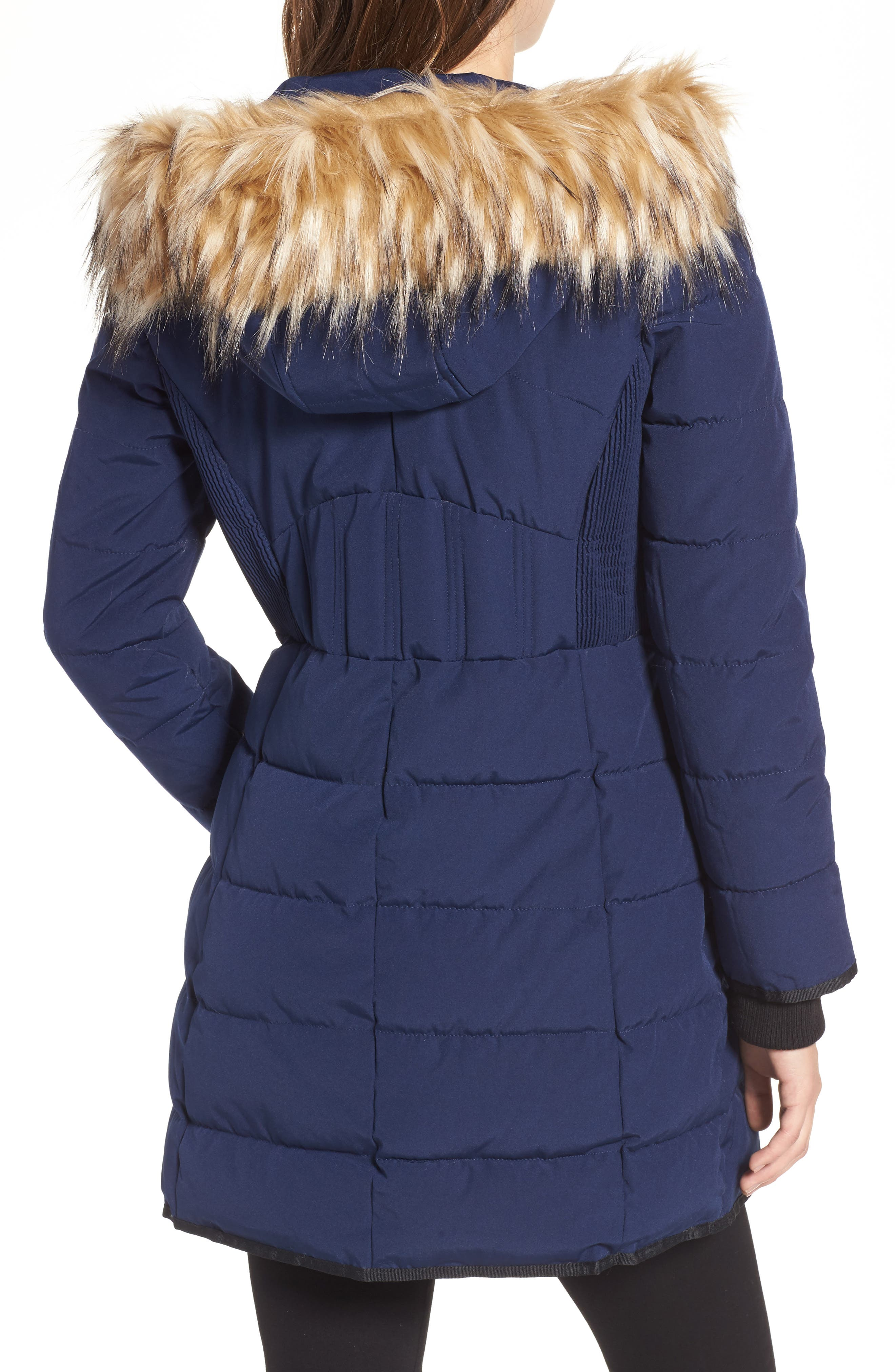 Hooded Jacket with Faux Fur Trim,                             Alternate thumbnail 2, color,                             Navy