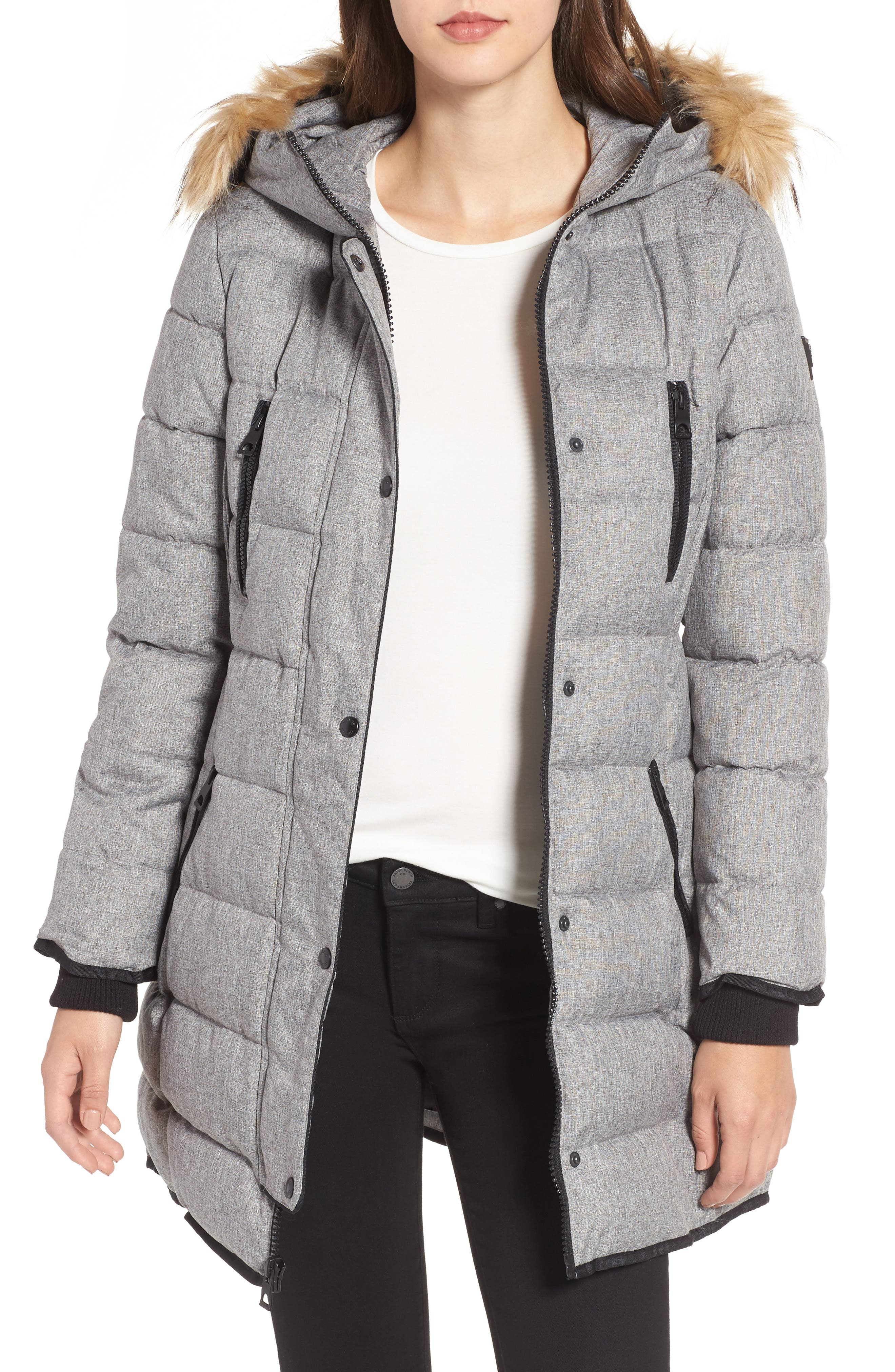 Alternate Image 1 Selected - GUESS Hooded Jacket with Faux Fur Trim