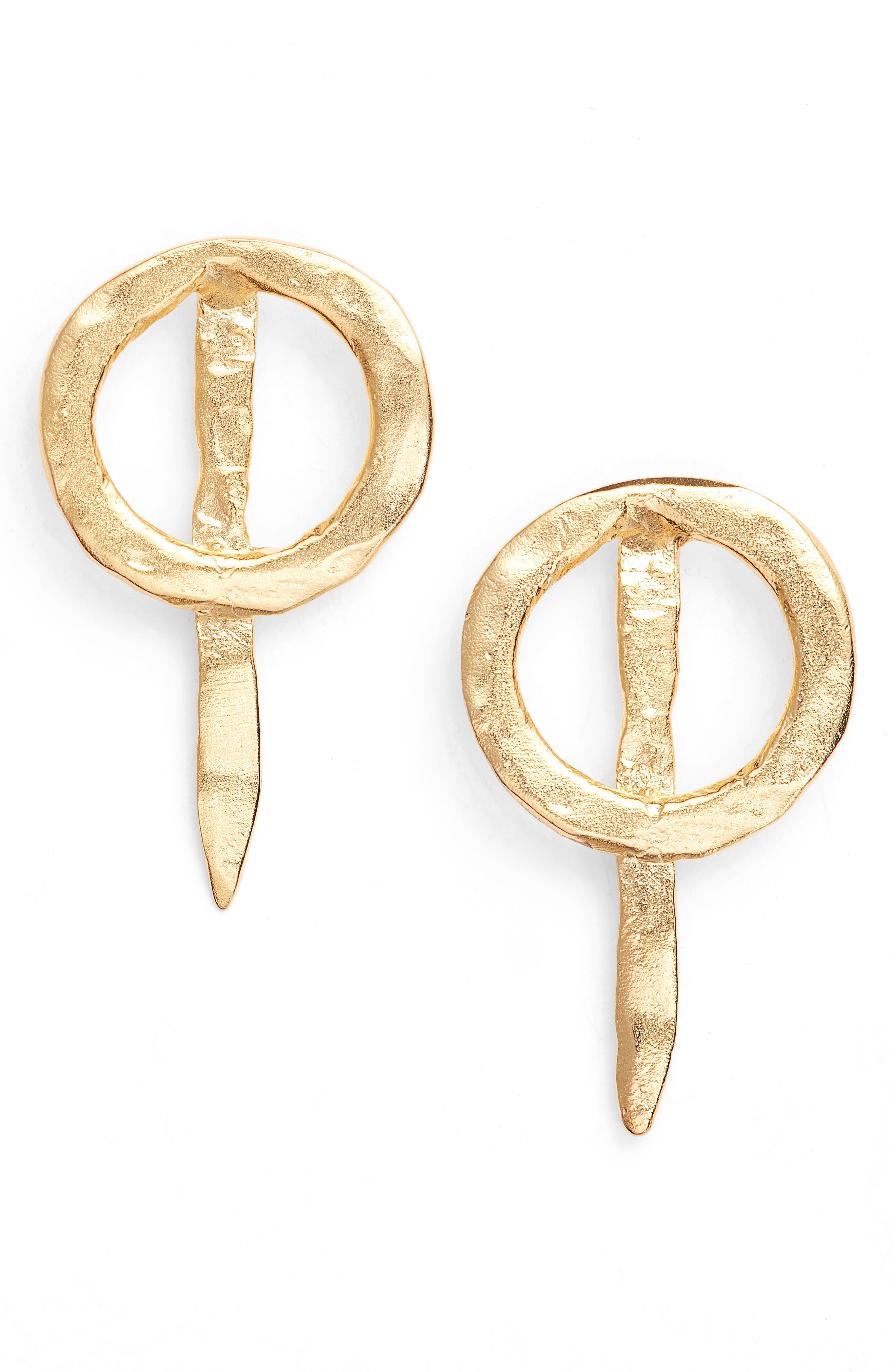 Thorn Drop Earrings,                         Main,                         color, Gold
