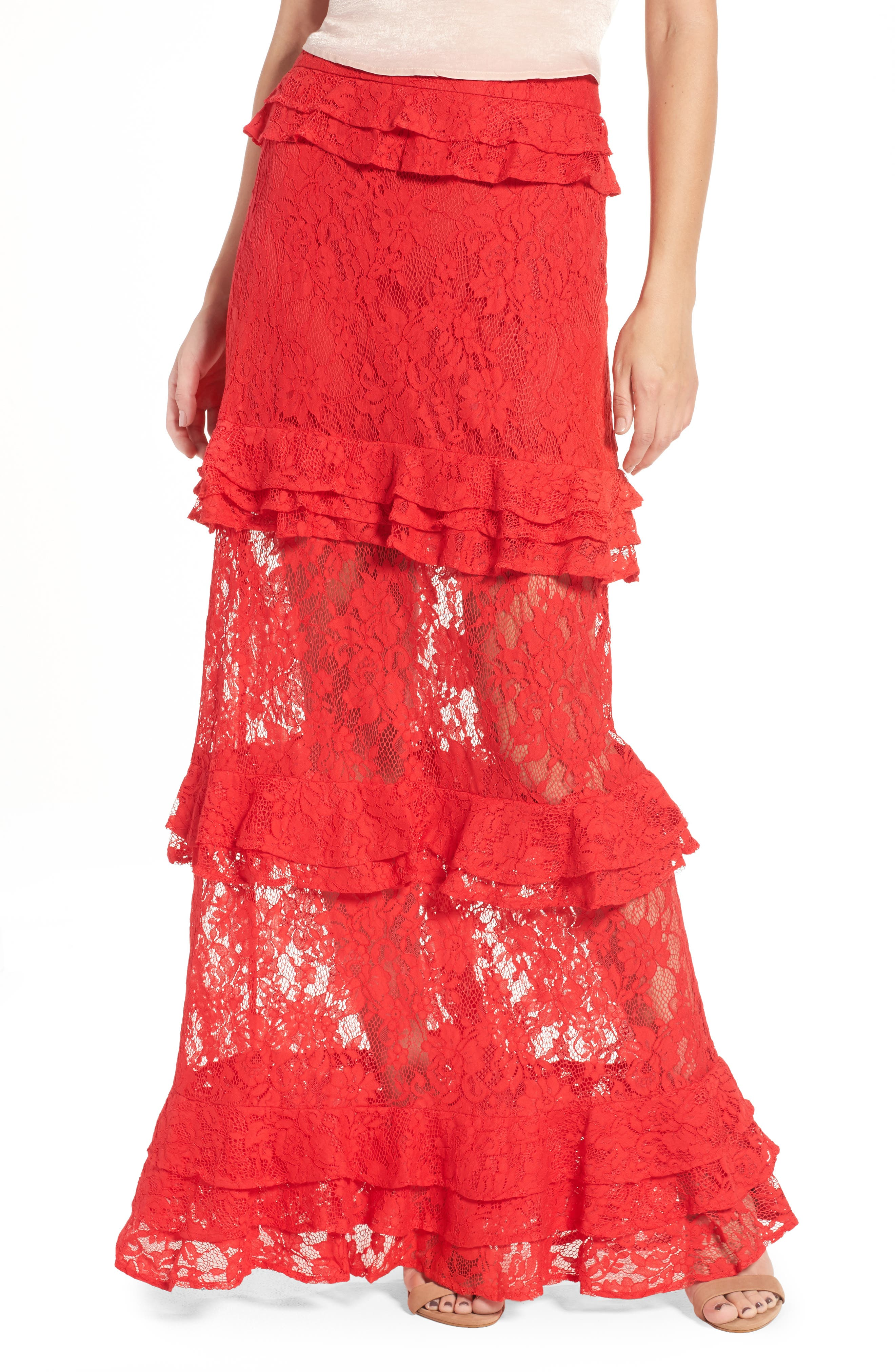 Otis Ruffle Maxi Skirt,                         Main,                         color, Red