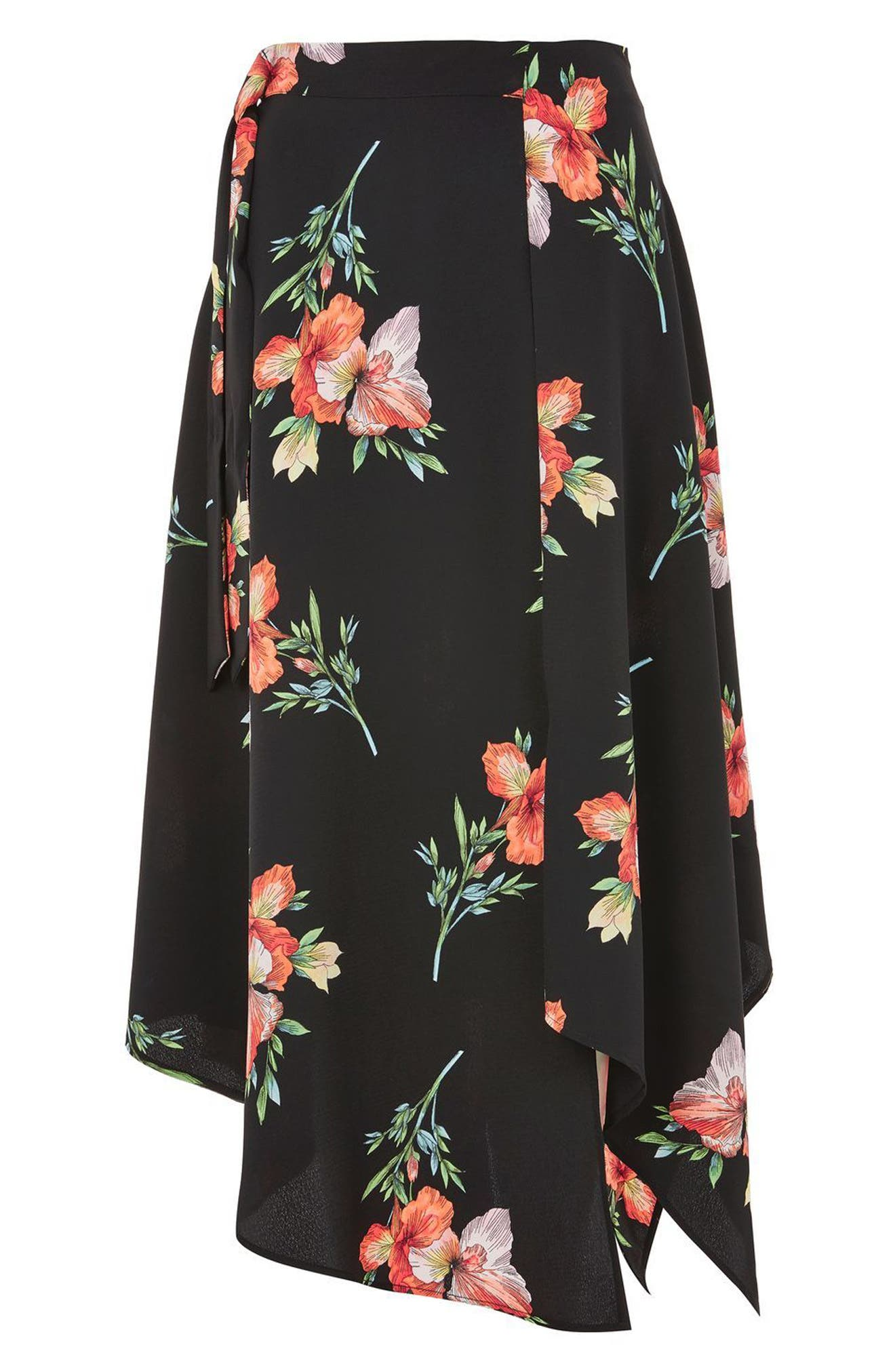Alternate Image 3  - Topshop Sunset Iris Handkerchief Hem Skirt