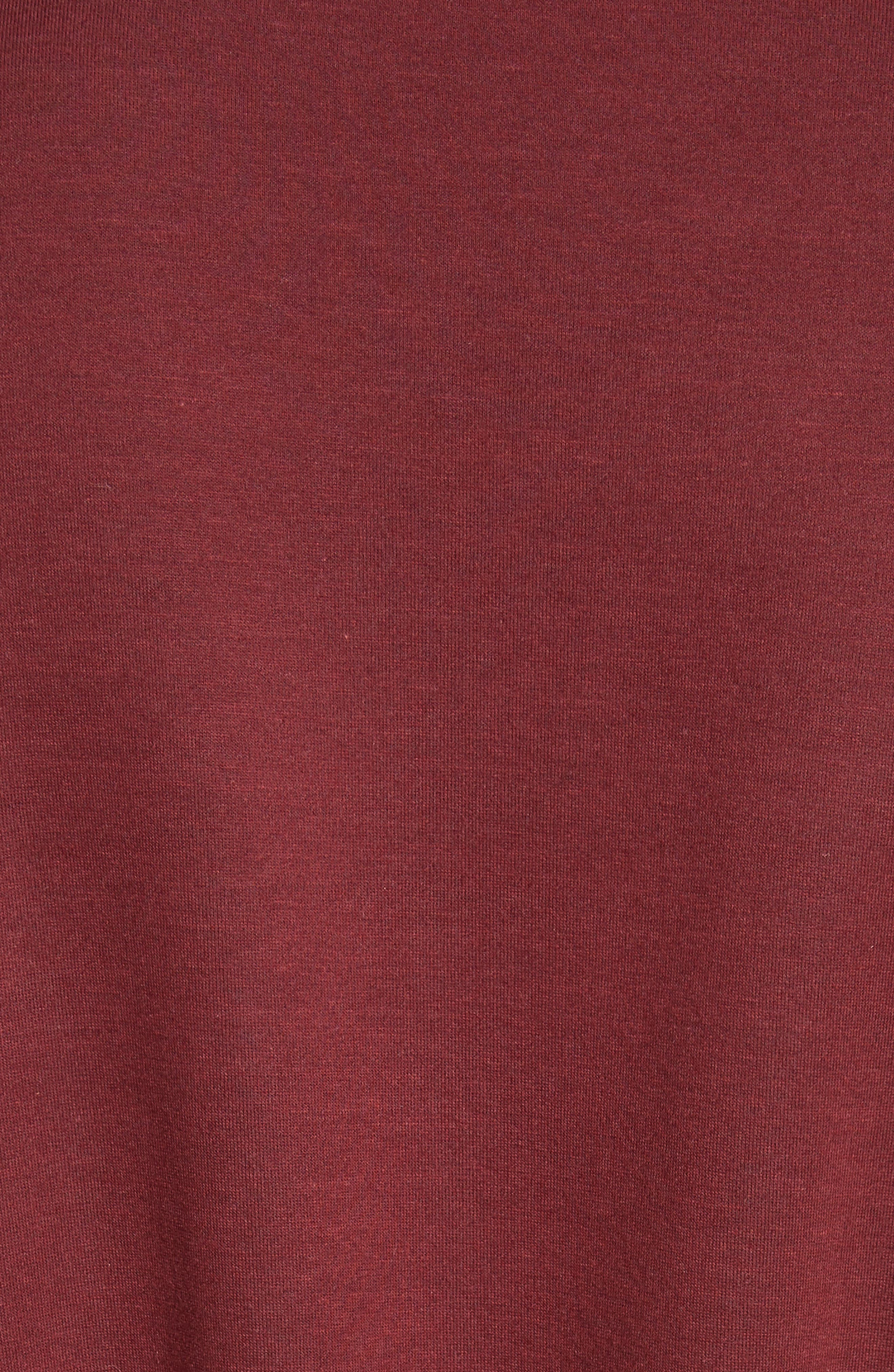 Ruched Ruffle Waist Sweatshirt,                             Alternate thumbnail 5, color,                             Dark Burgundy