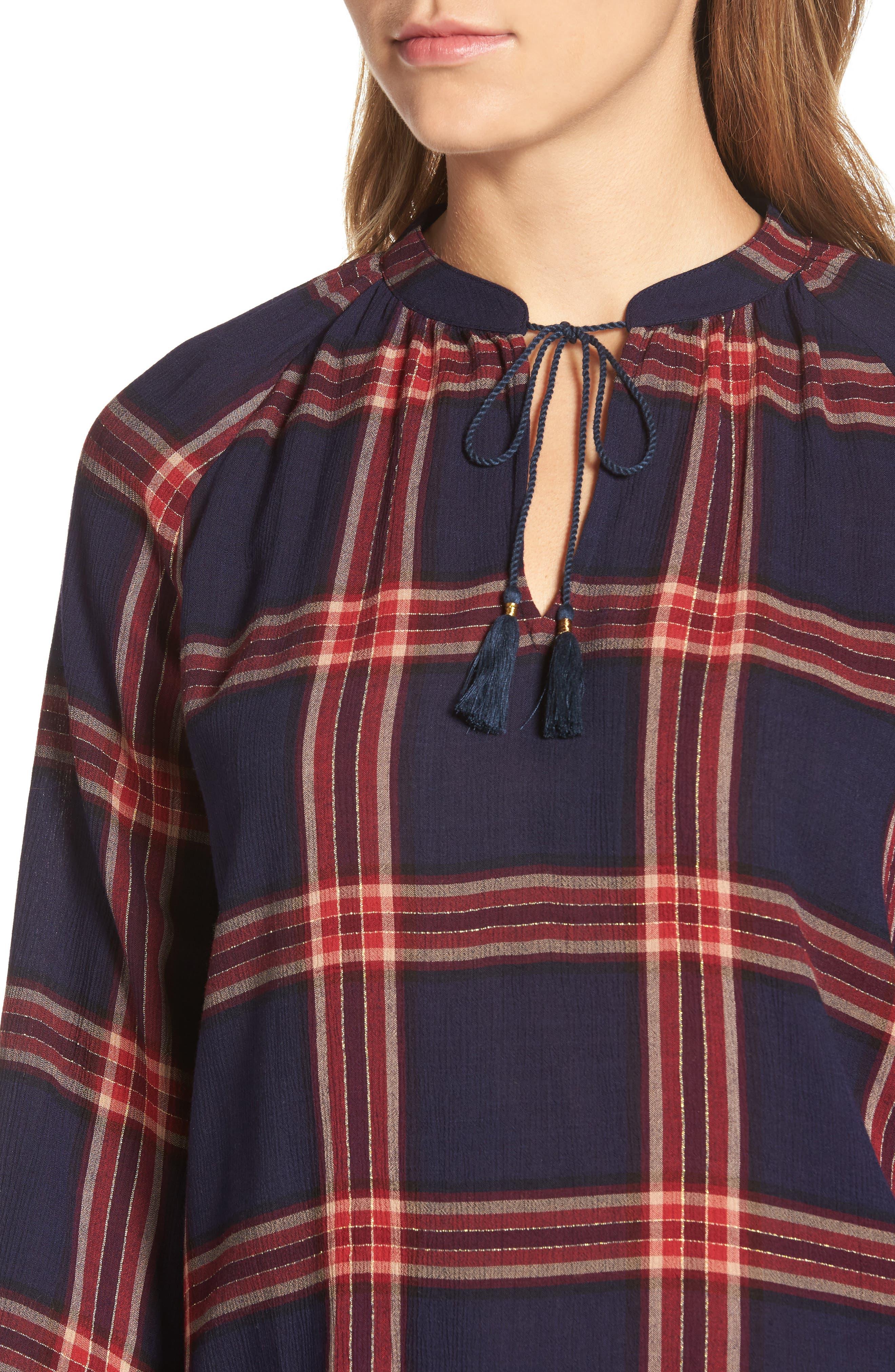 Plaid Shirt,                             Alternate thumbnail 4, color,                             Navy Multi