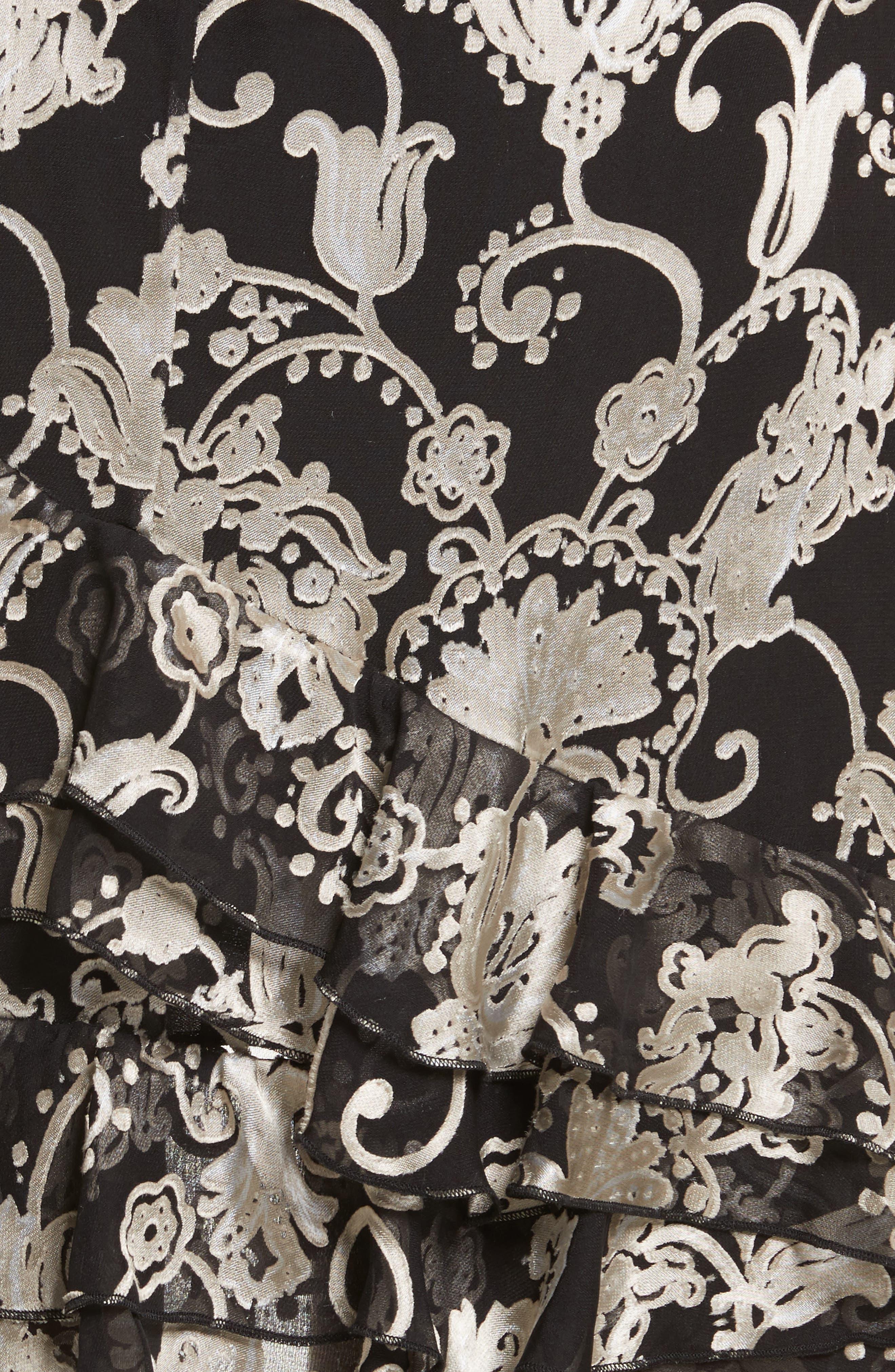Sasha Asymmetrical Tiered Ruffle Skirt,                             Alternate thumbnail 6, color,                             Black/ White