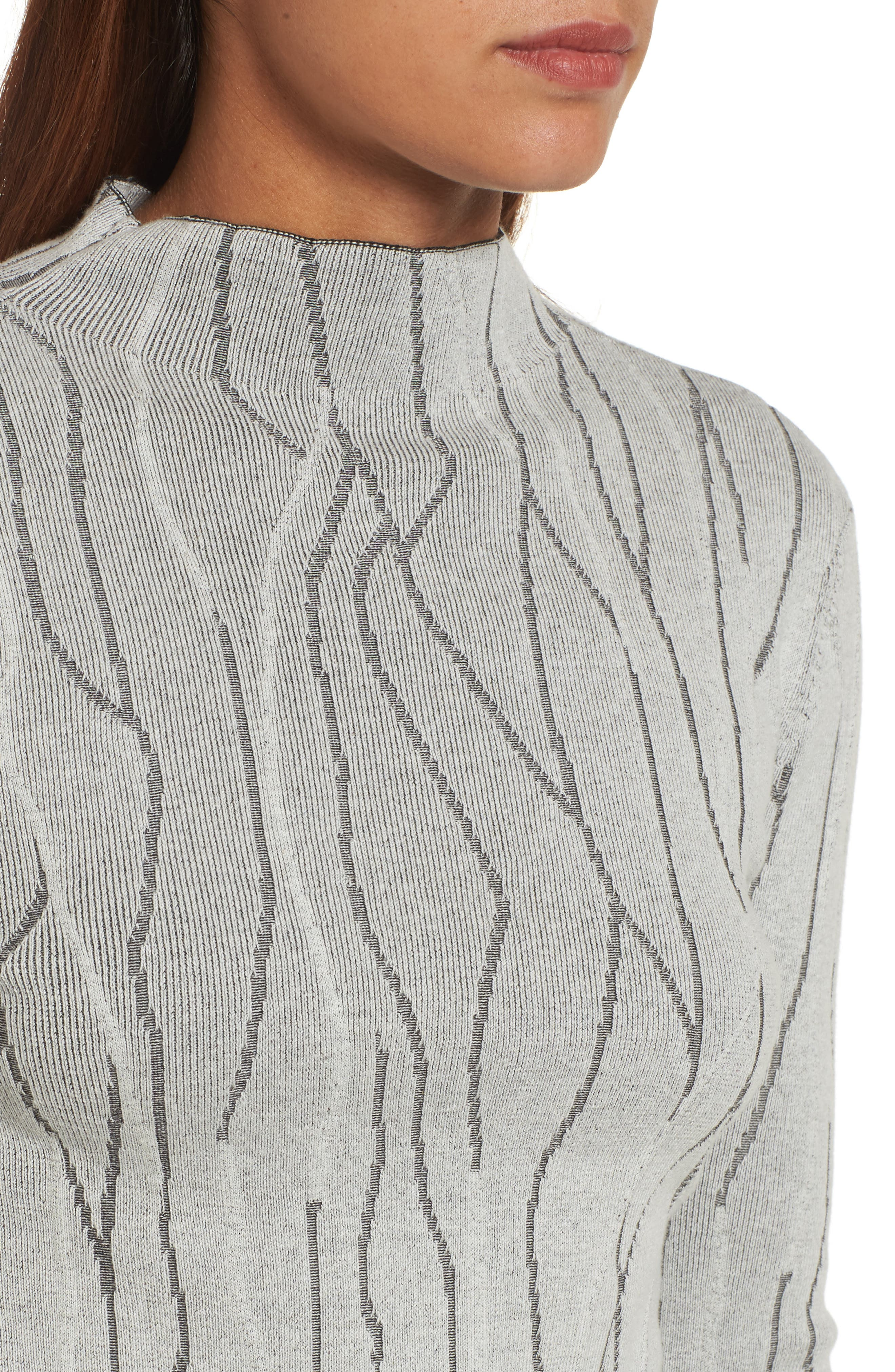 Artisanal Crackle Jacquard Sweater,                             Alternate thumbnail 4, color,                             Chalk