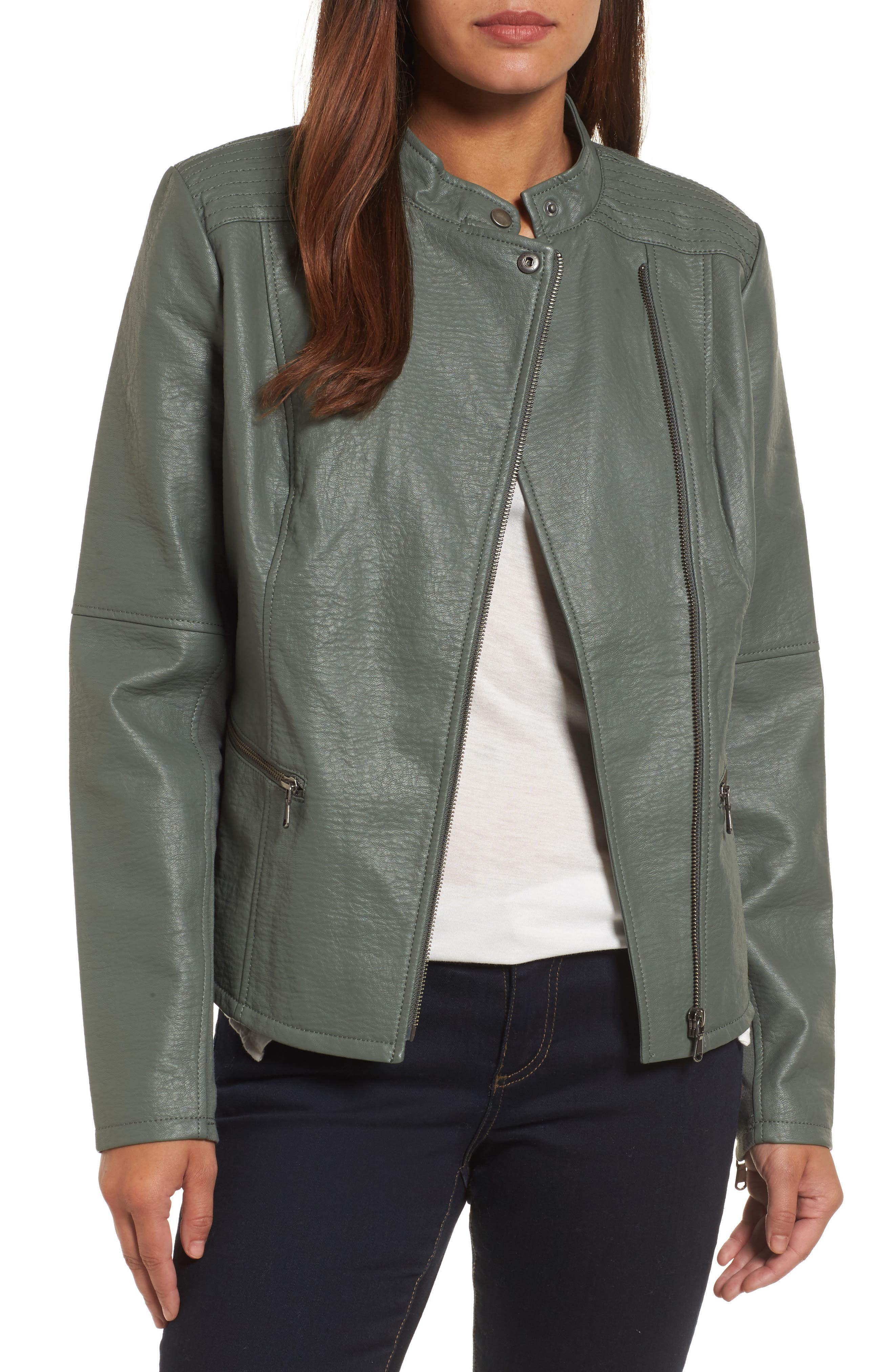 City Chic Faux Leather Jacket,                         Main,                         color, Bramble