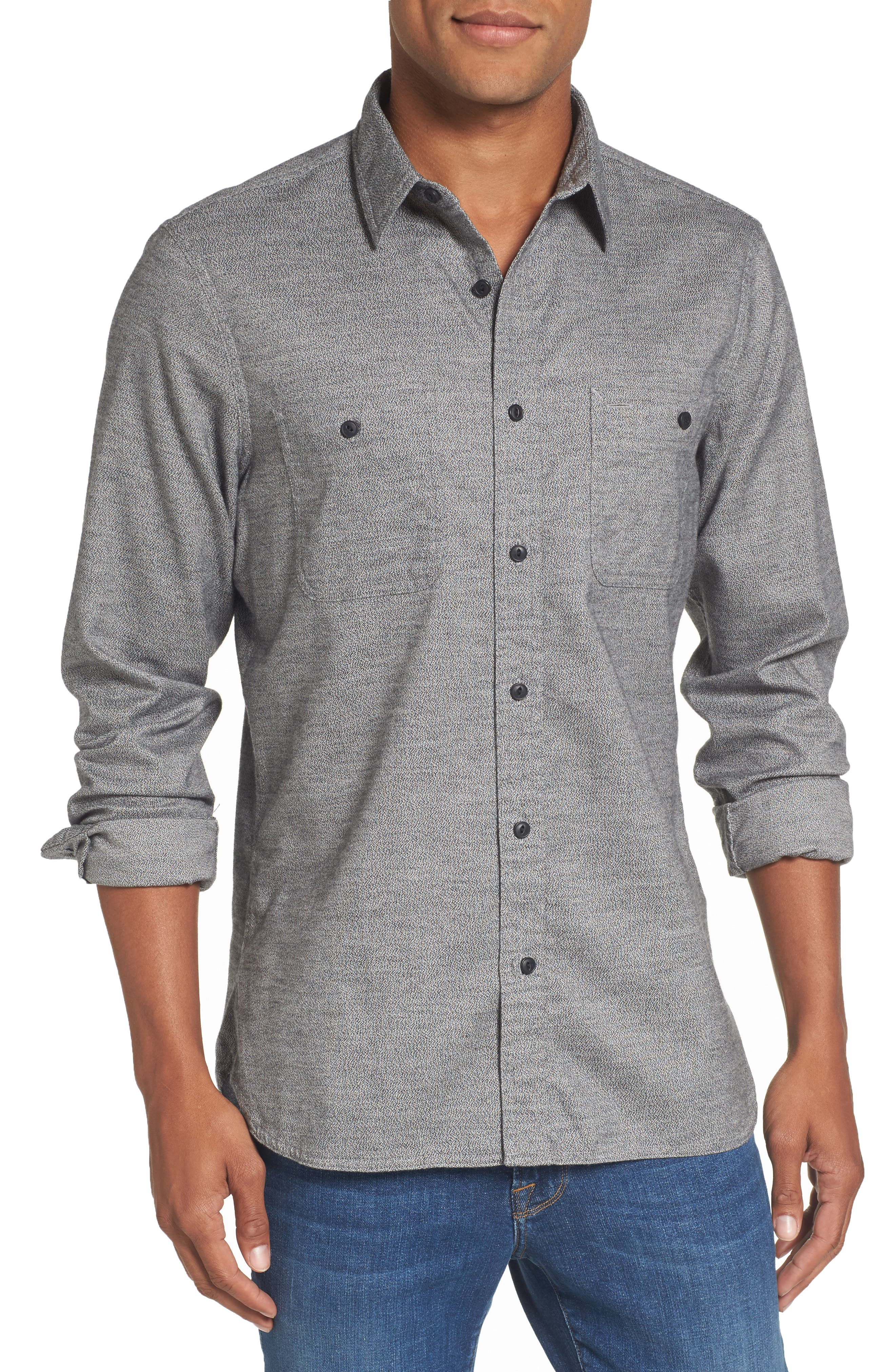 Nordstrom Men's Shop Slim Fit Jaspé Sport Shirt (Regular & Tall)