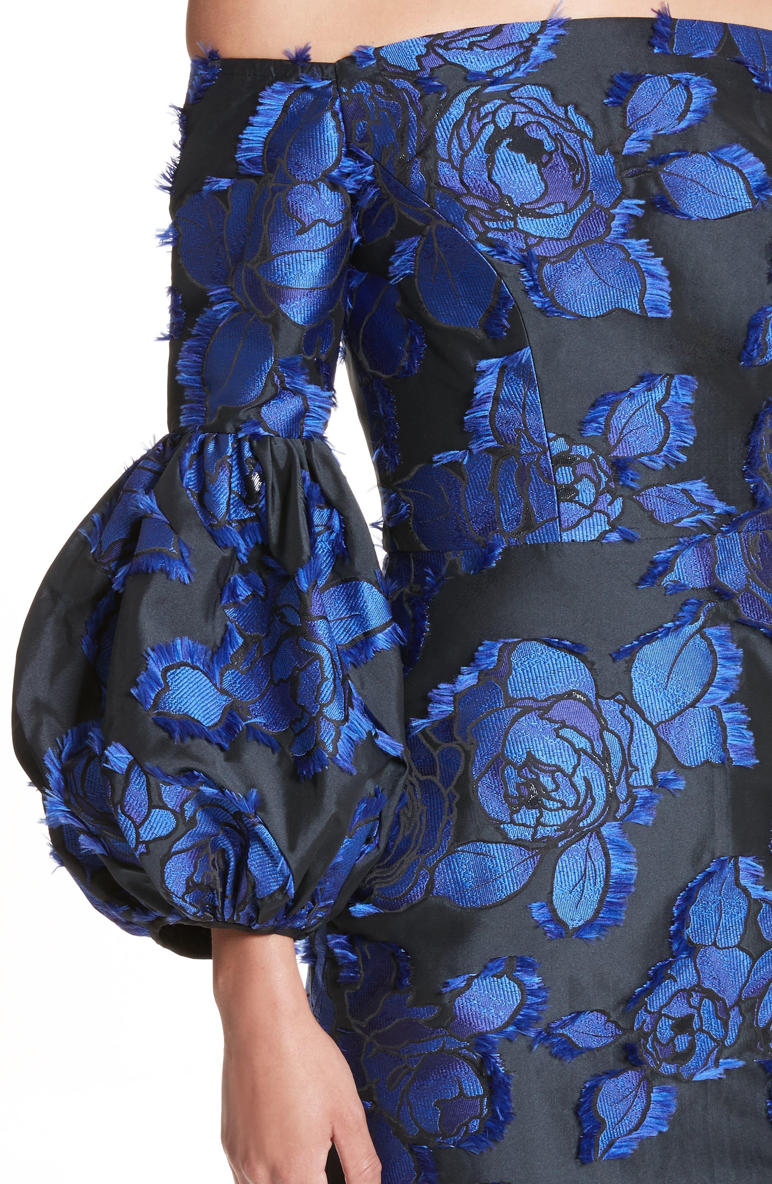 Fring Brocade Puff Sleeve Dress,                             Alternate thumbnail 7, color,                             Black/ Lapis