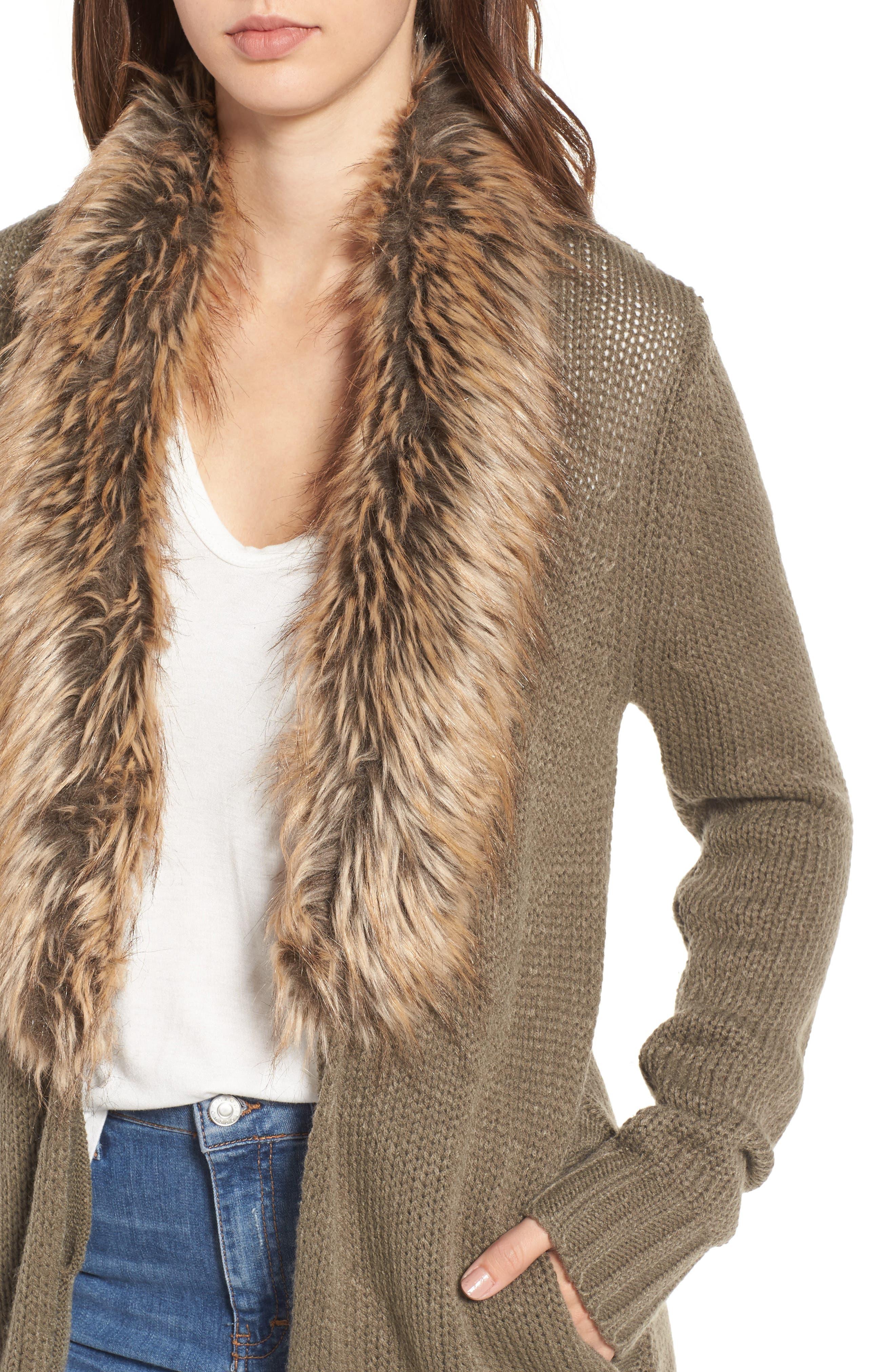 Alternate Image 4  - Show Me Your Mumu Kenn Faux Fur Trim Cardigan