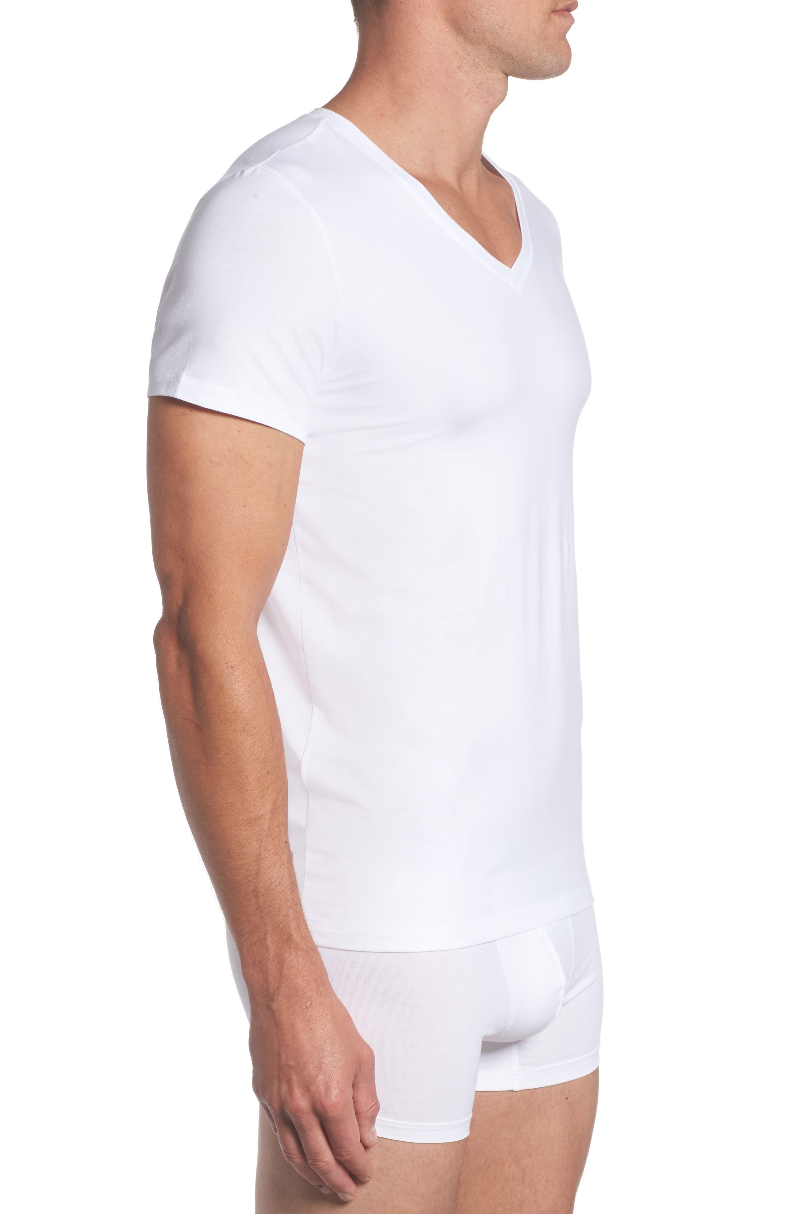 Cotton Superior V-Neck T-Shirt,                             Alternate thumbnail 3, color,                             White