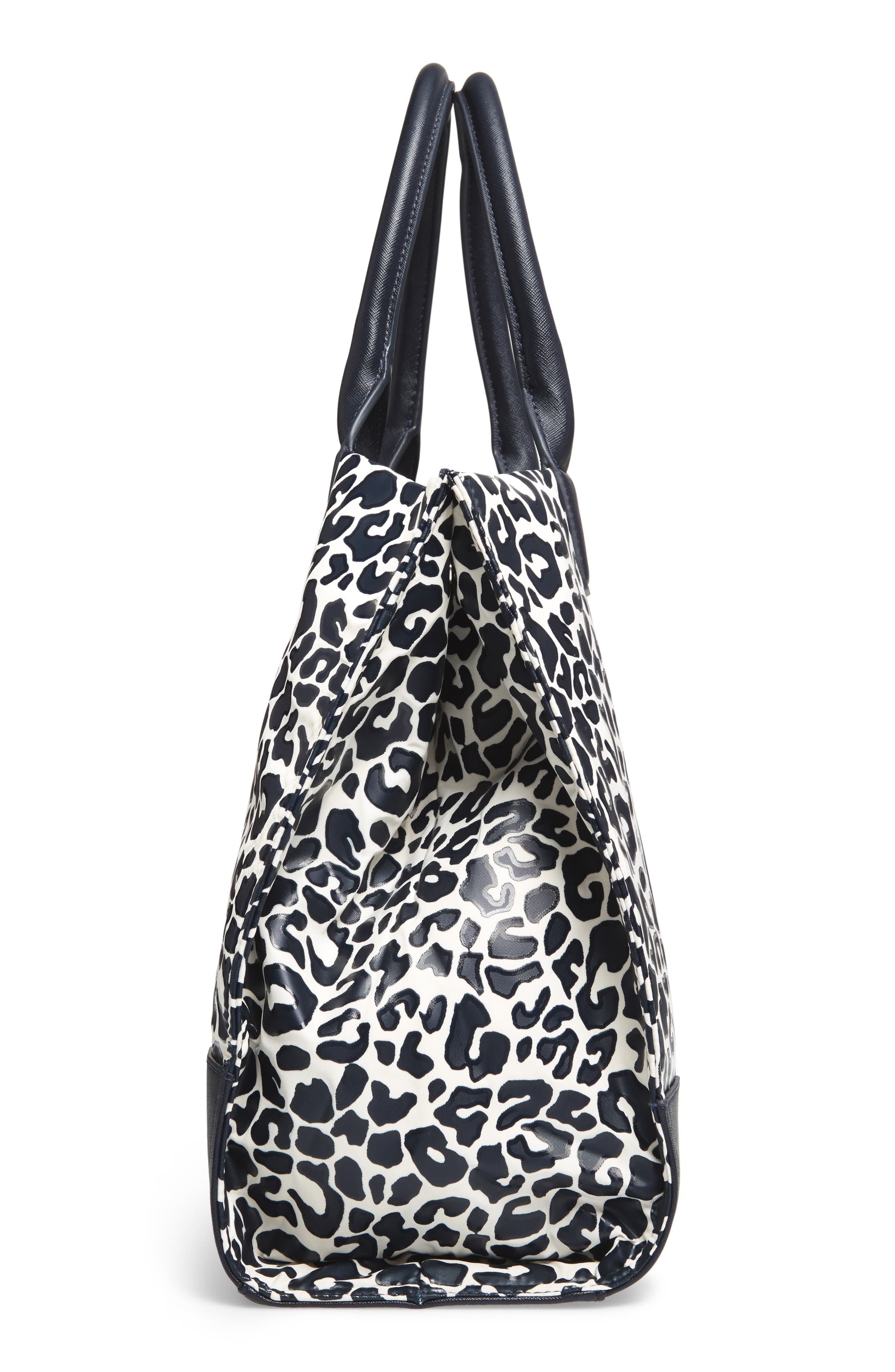 Ella Print Coated Nylon Tote,                             Alternate thumbnail 5, color,                             Tory Navy Clouded Leopard