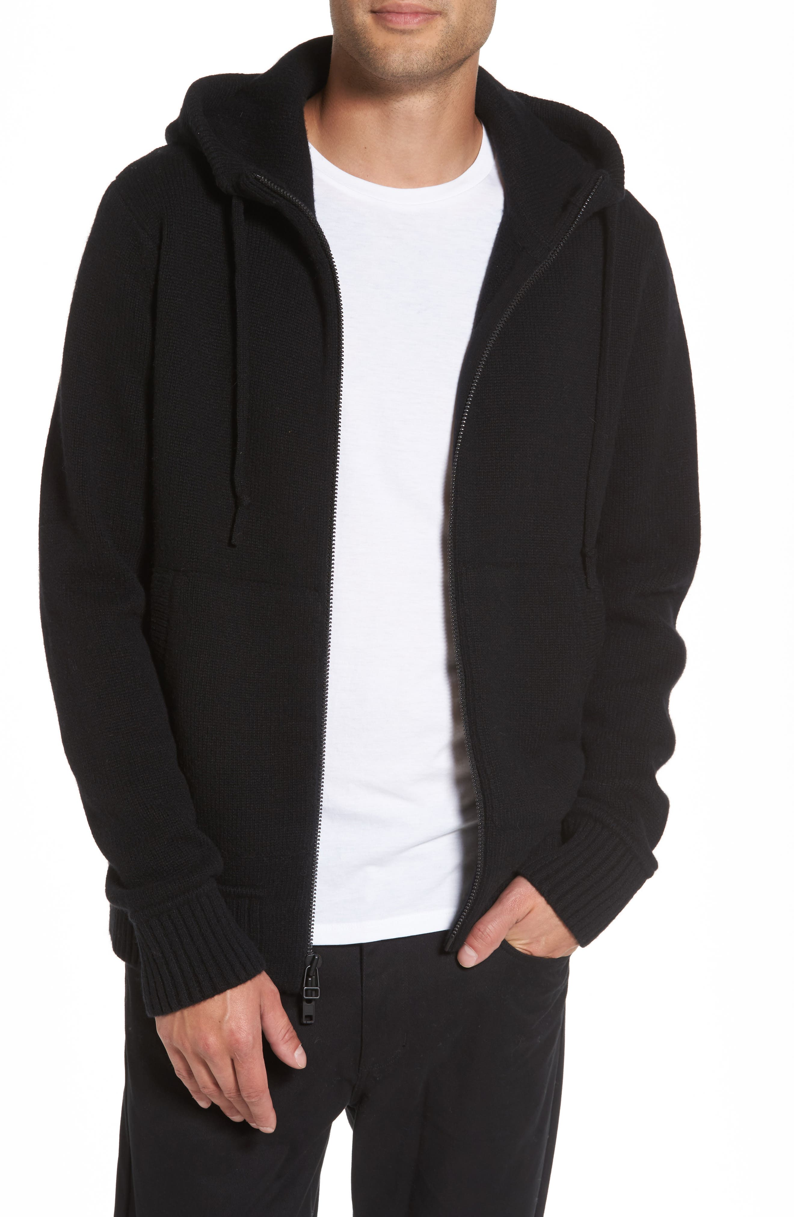 Front Zip Wool & Cashmere Hoodie,                             Main thumbnail 1, color,                             Black