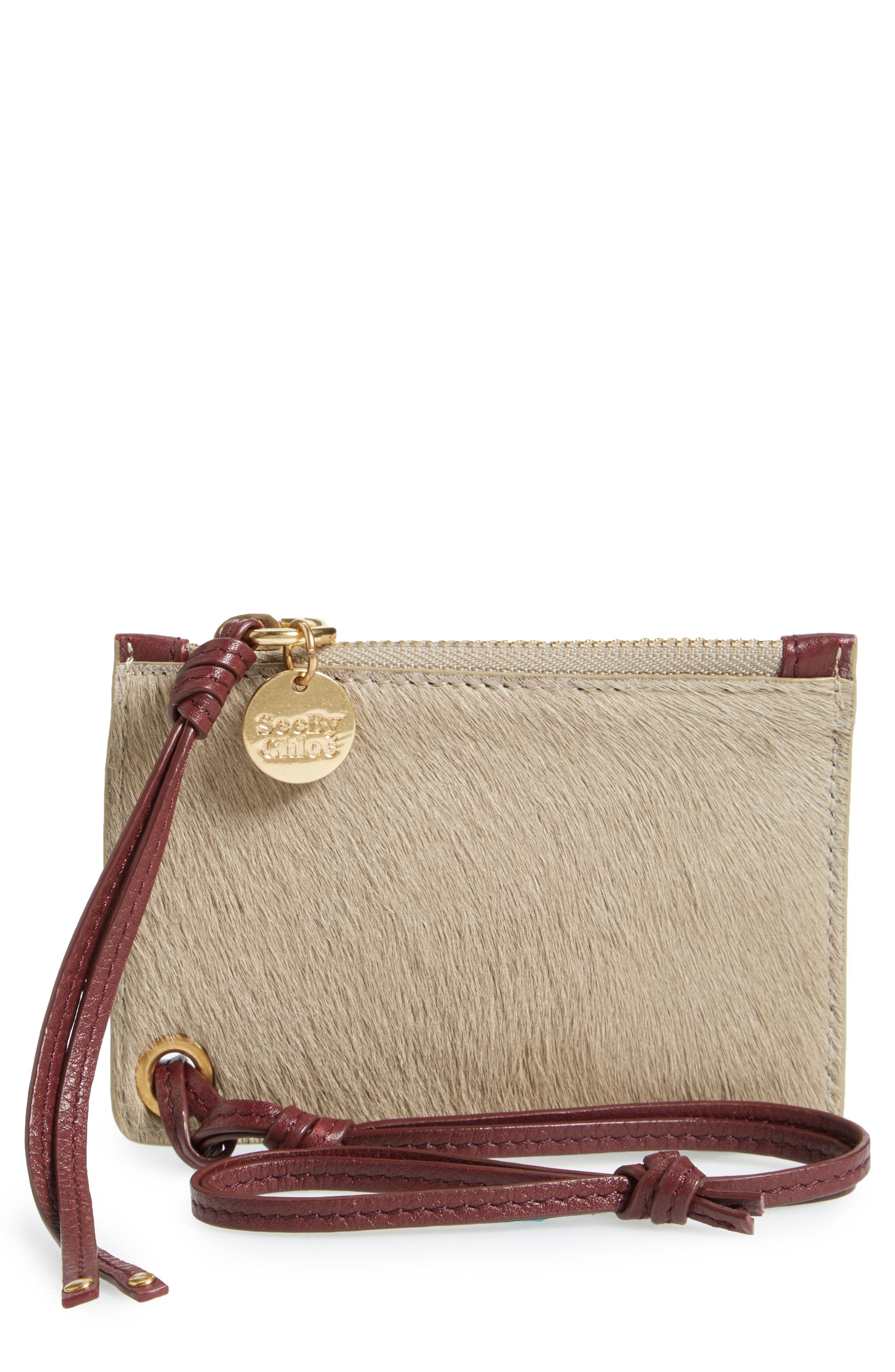 Main Image - See by Chloé Genuine Calf Hair Passport Holder & Leather Card Case