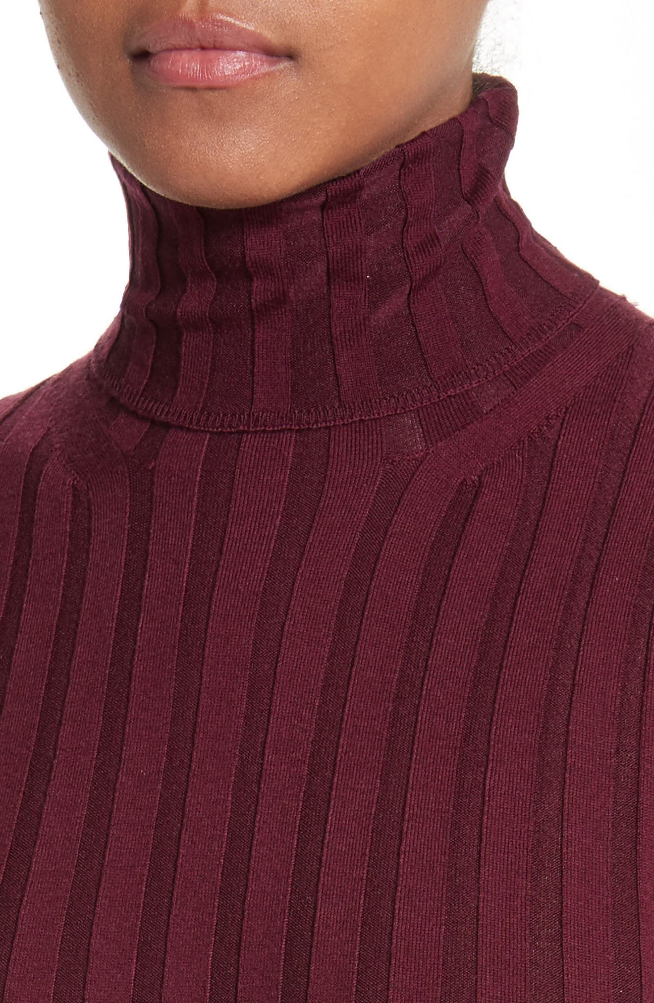 Corina Fitted Turtleneck Sweater,                             Alternate thumbnail 4, color,                             Burgundy