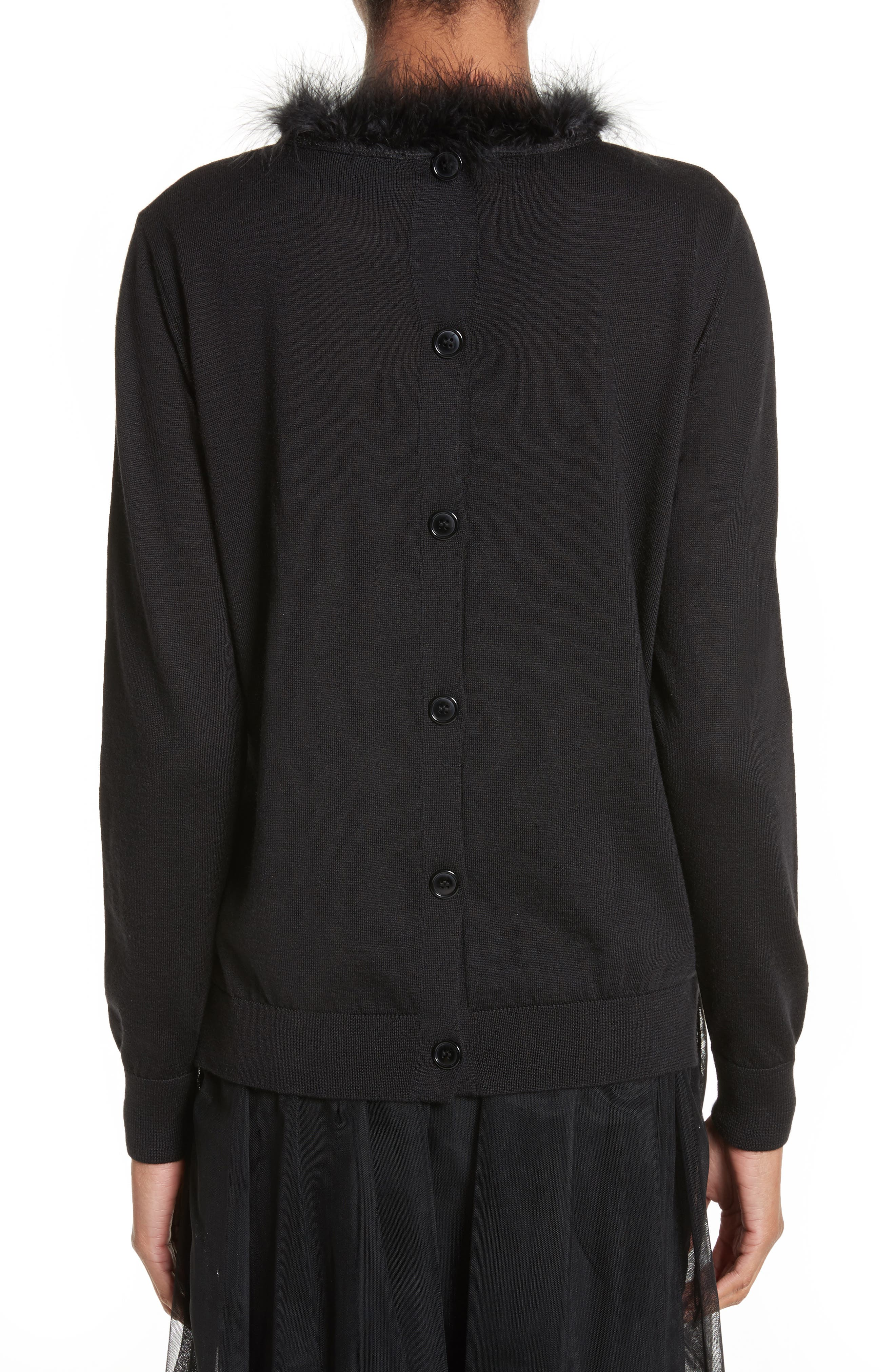 Alternate Image 2  - Simone Rocha Teddy Open Back Sweater with Feather Trim