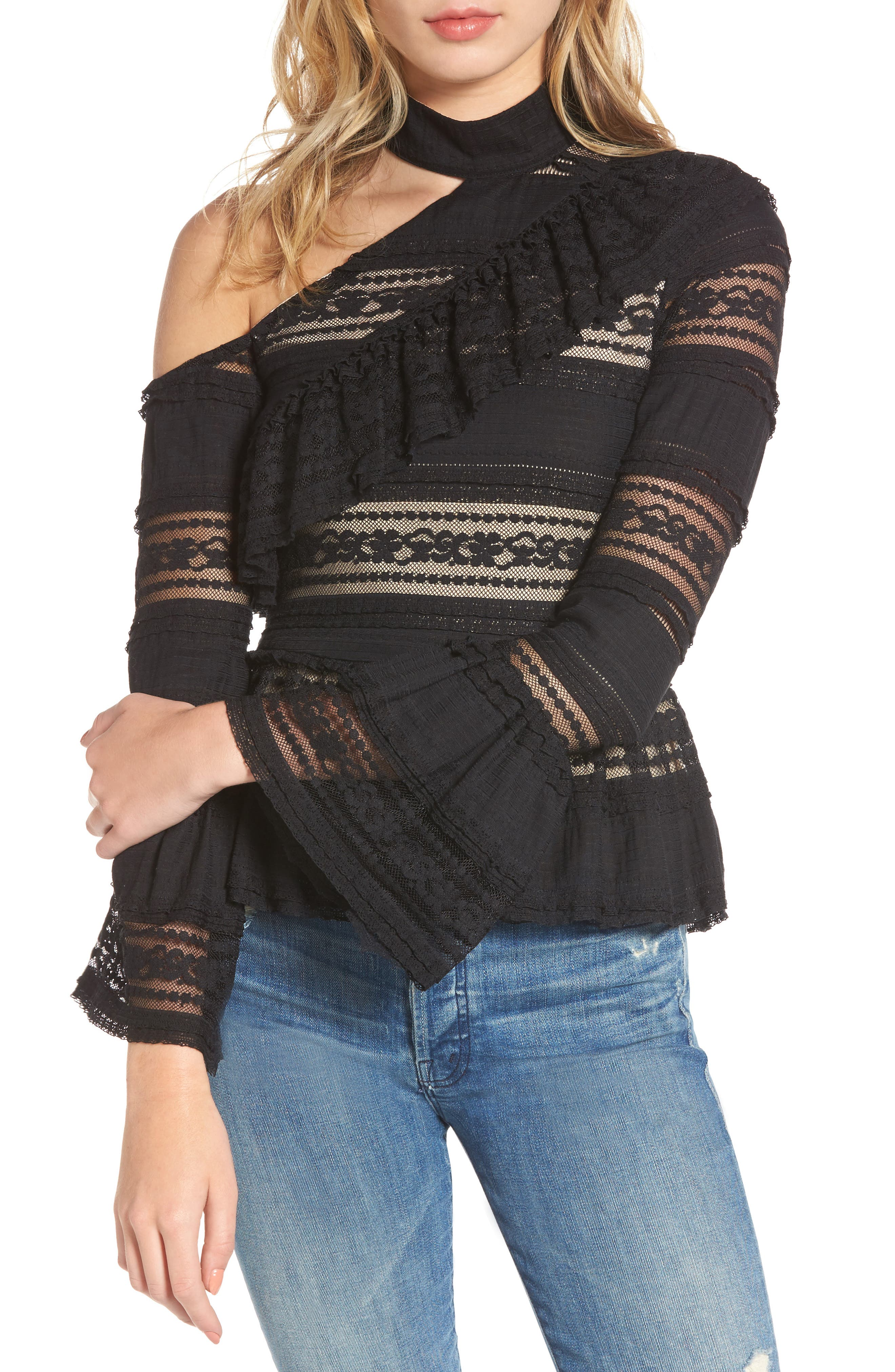 Nicola One-Shoulder Blouse,                         Main,                         color, Black