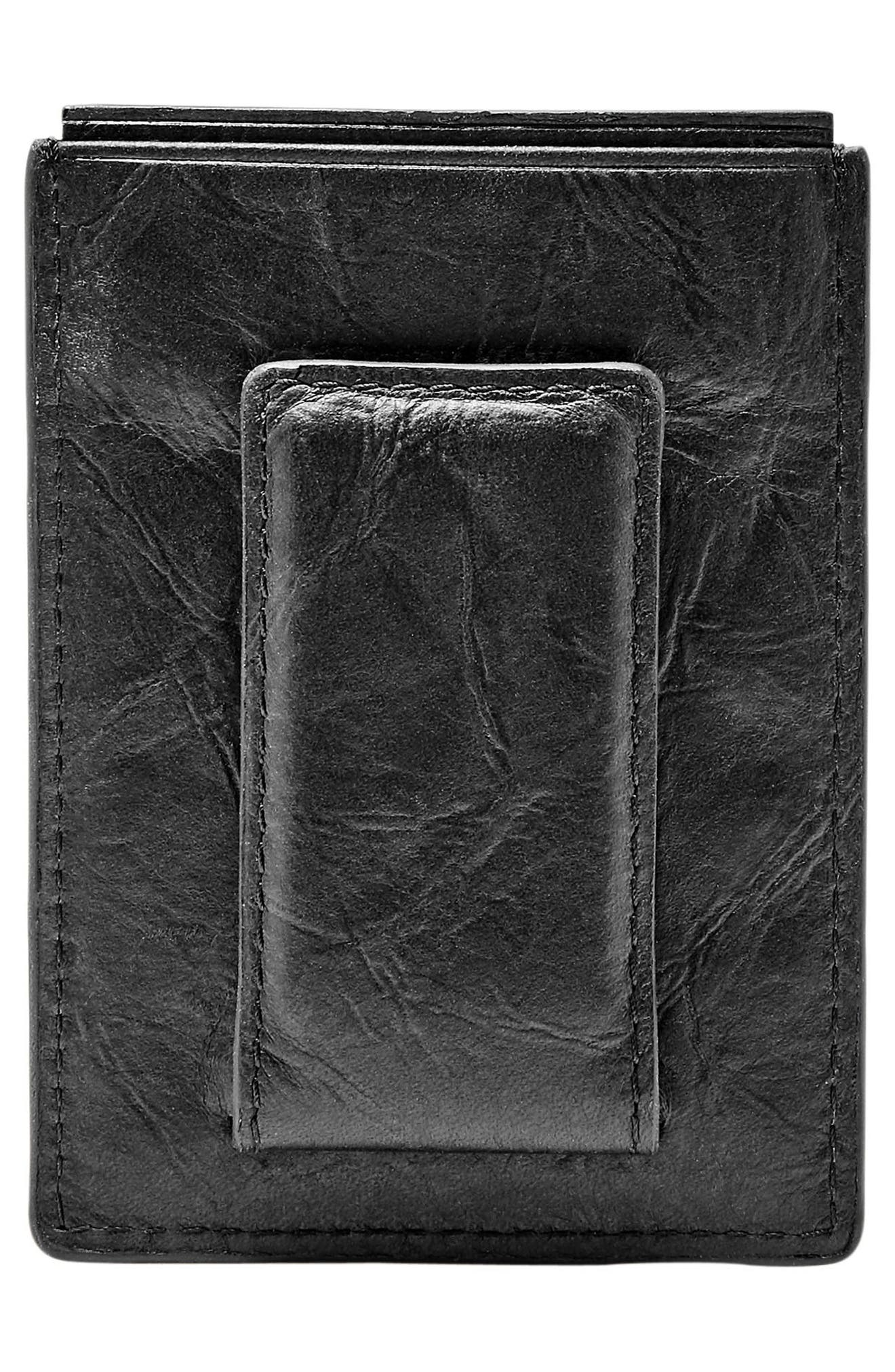 Neel Magnetic Leather Money Clip Card Case,                             Alternate thumbnail 3, color,                             Black