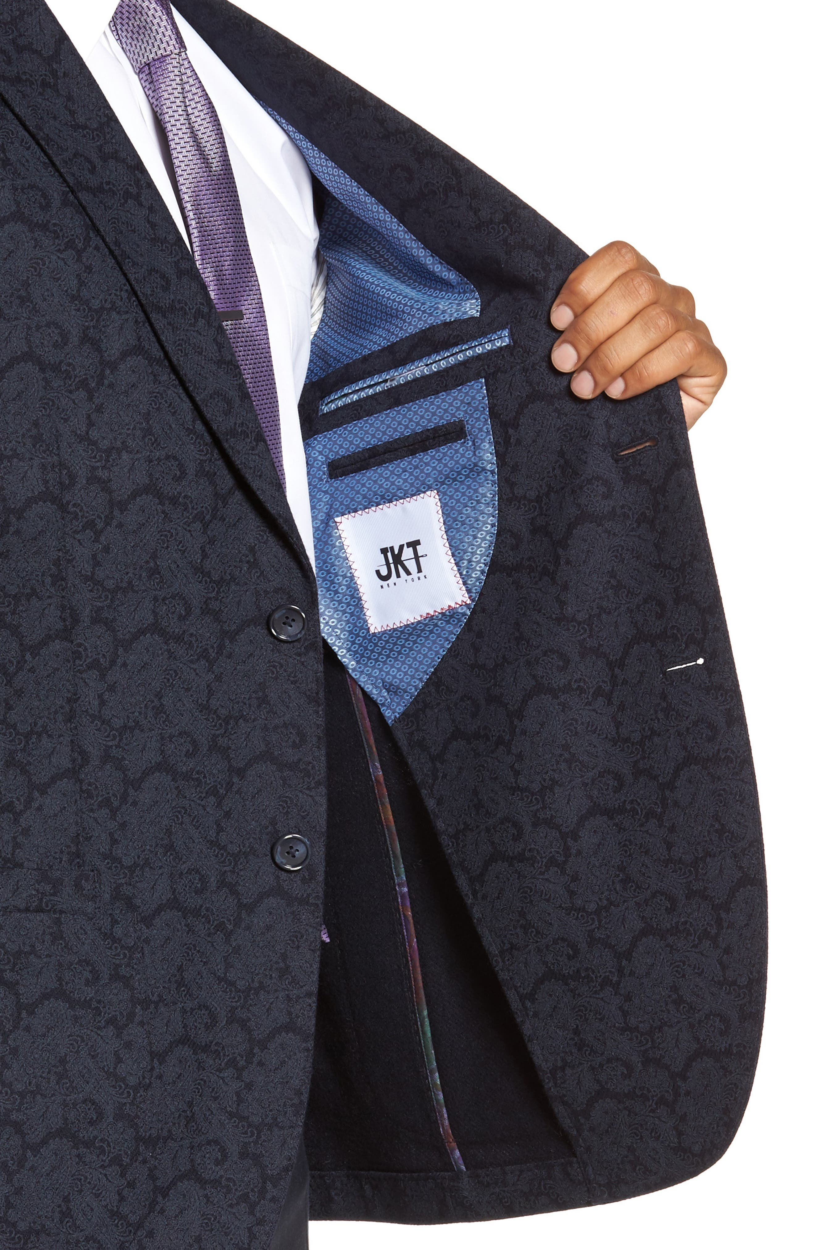 Alternate Image 4  - JKT New York Trim Fit Paisley Wool Blend Sport Coat
