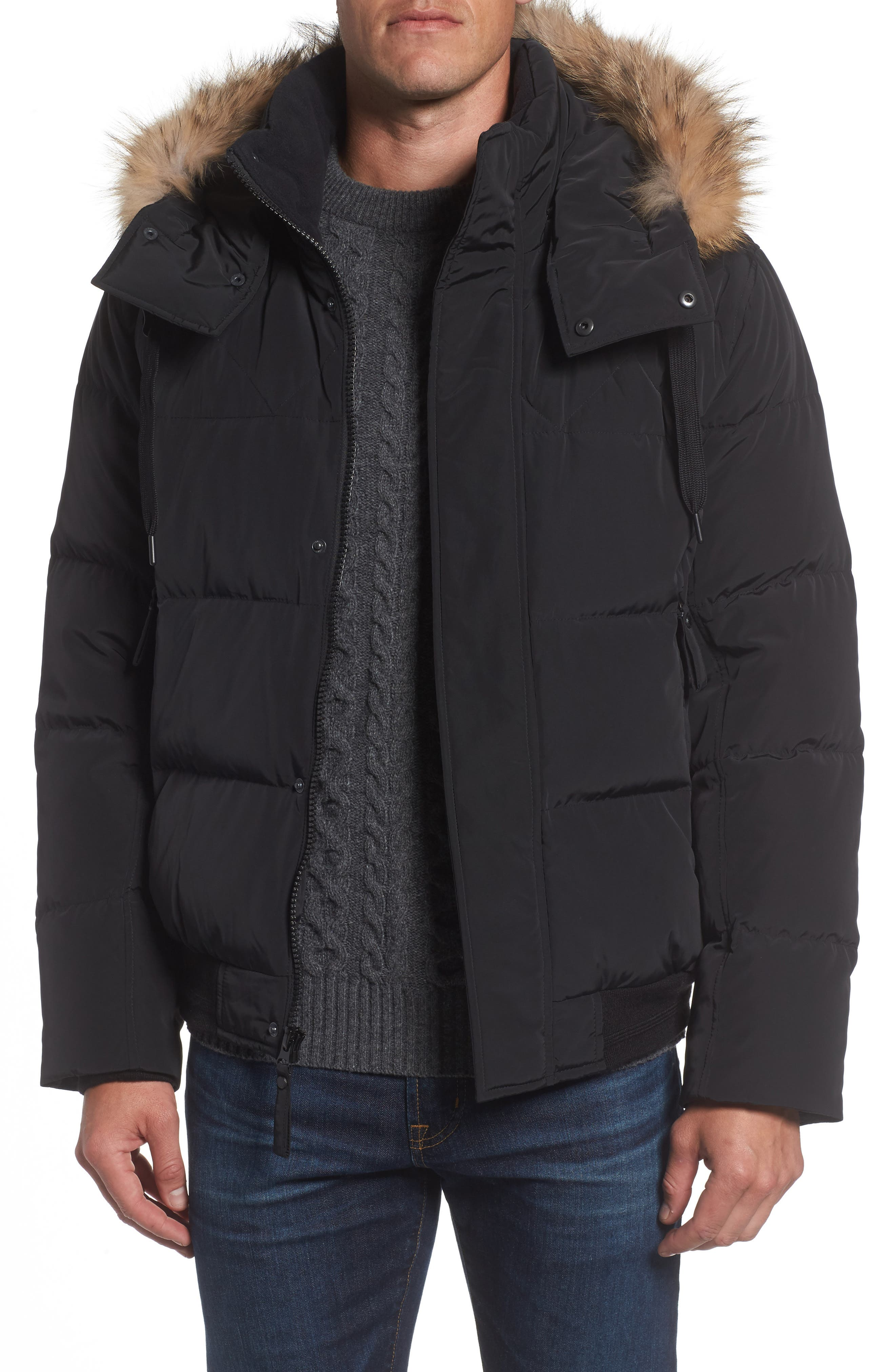 Insulated Jacket with Genuine Coyote Fur,                         Main,                         color, Black