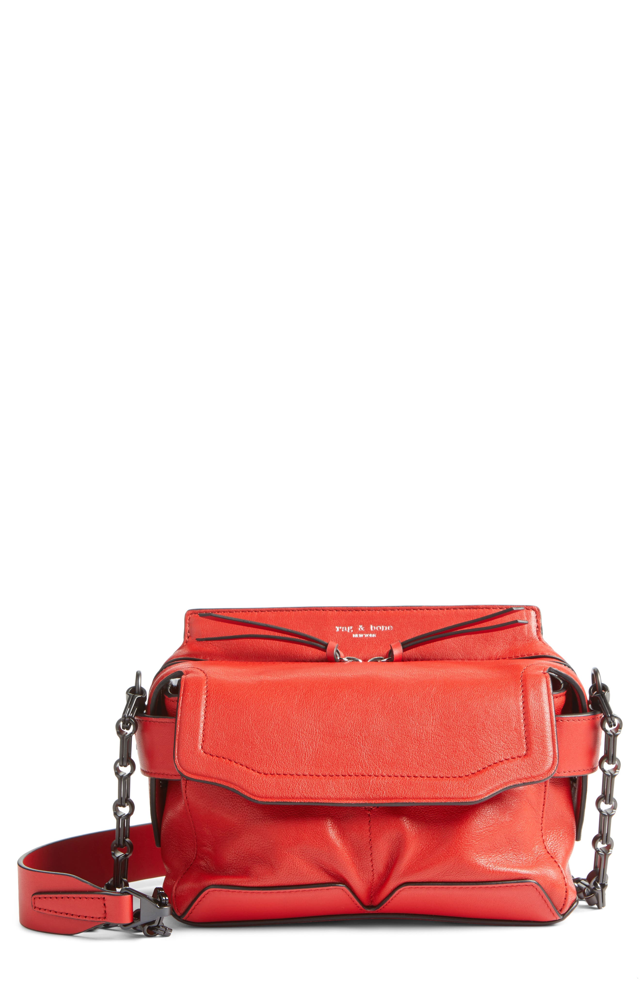 Micro Pilot Leather Satchel,                         Main,                         color, Royal Red