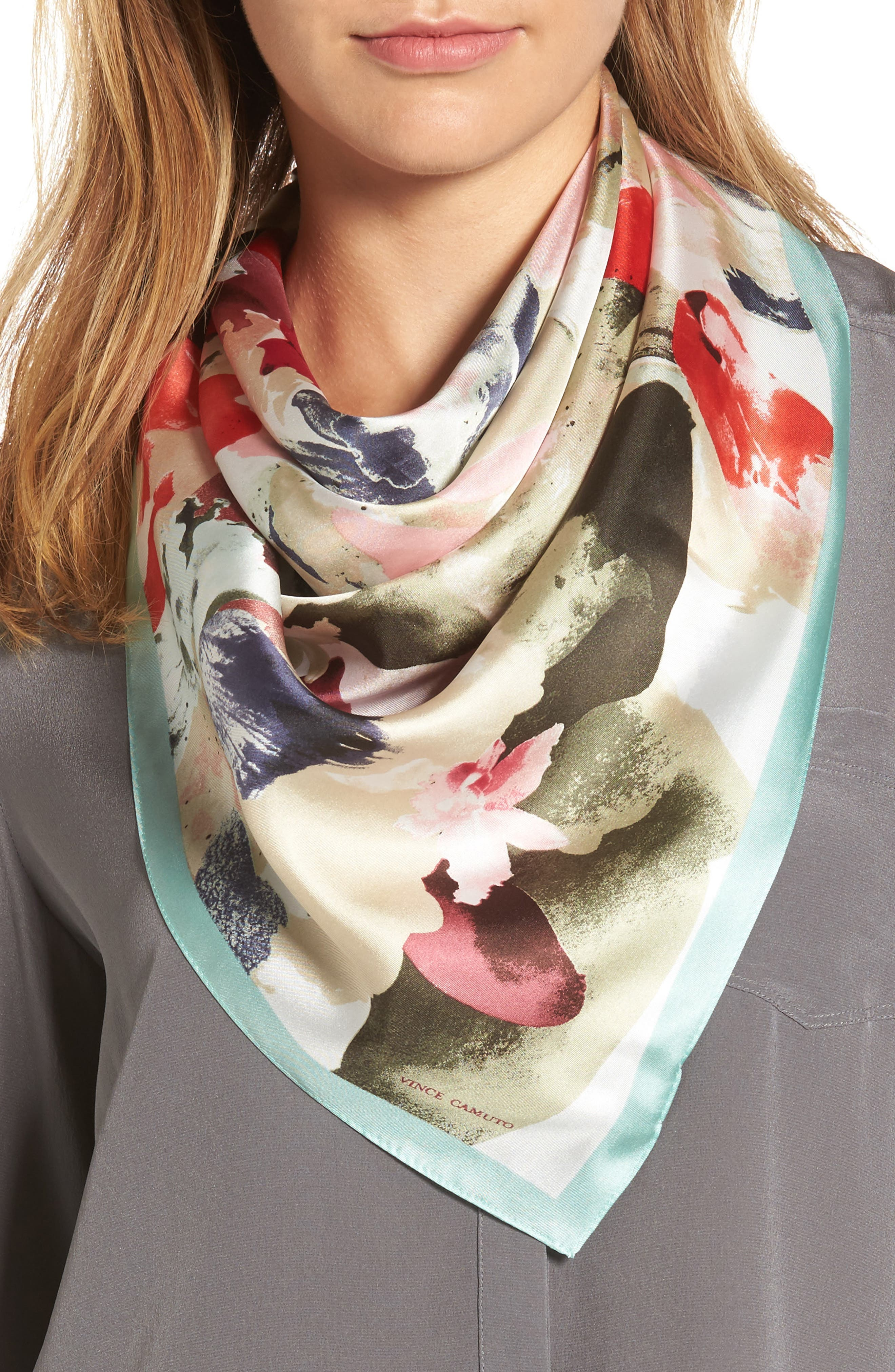 VINCE CAMUTO Floral Photo Smash Square Silk Scarf