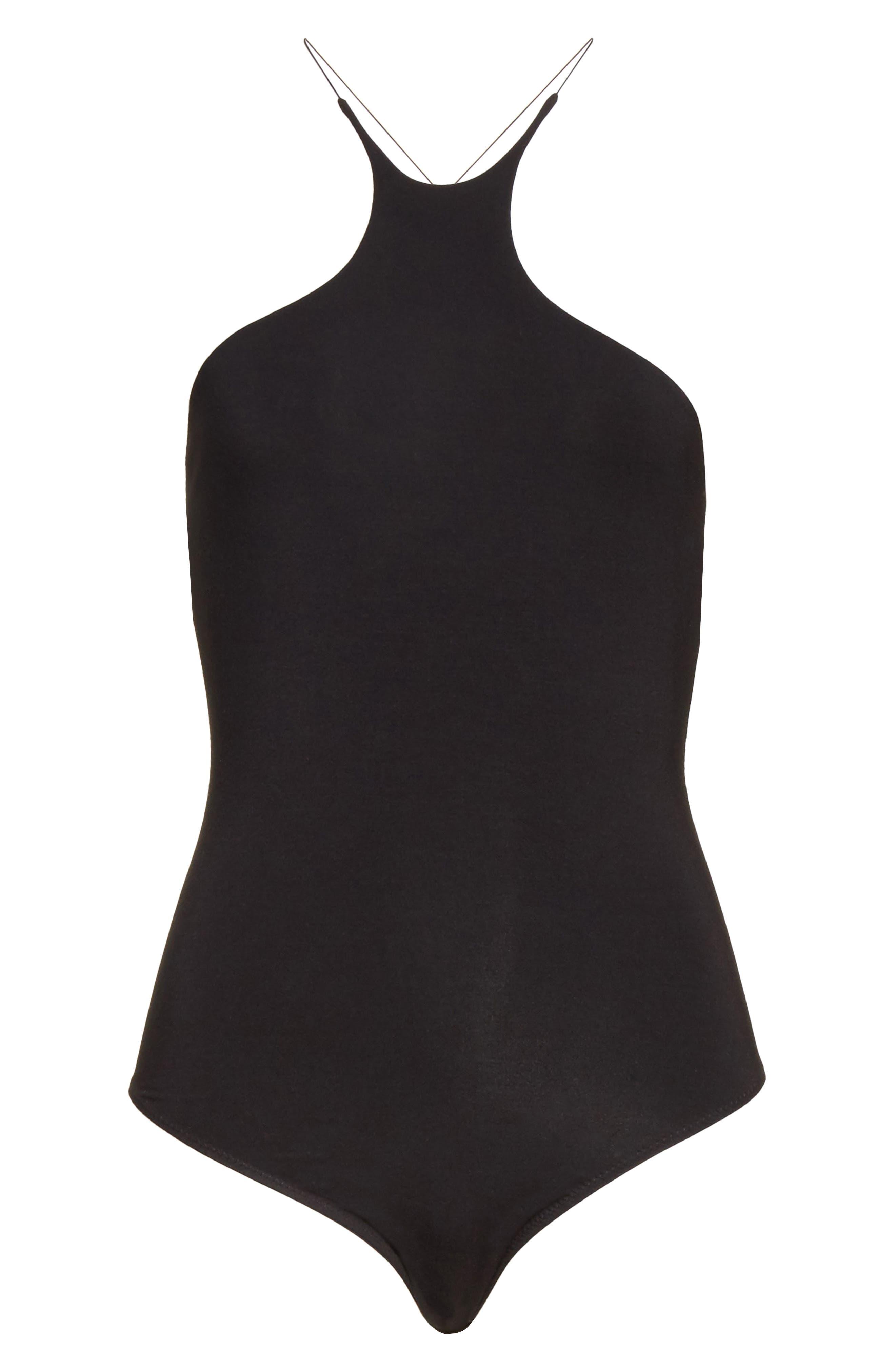 Cutaway Stretch Jersey Bodysuit,                             Alternate thumbnail 6, color,                             Black