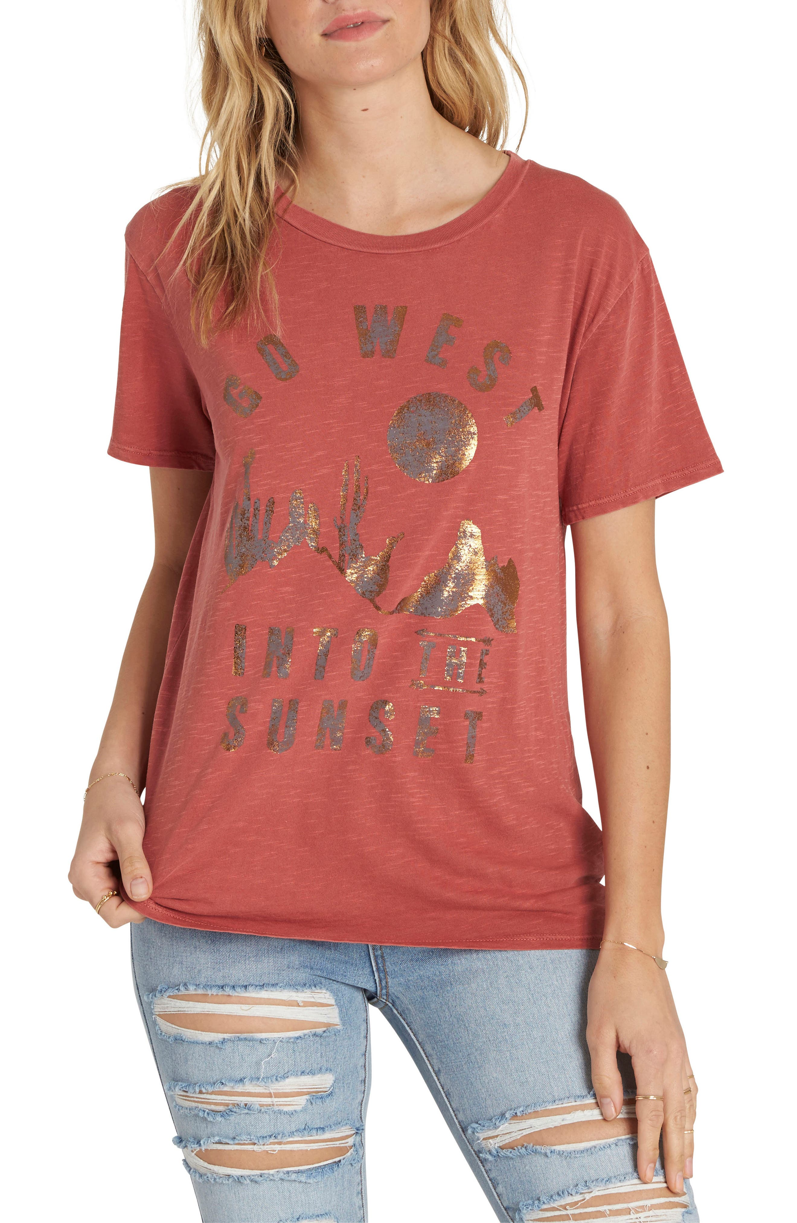 Sunset In the West Graphic Tee,                         Main,                         color, Sienna