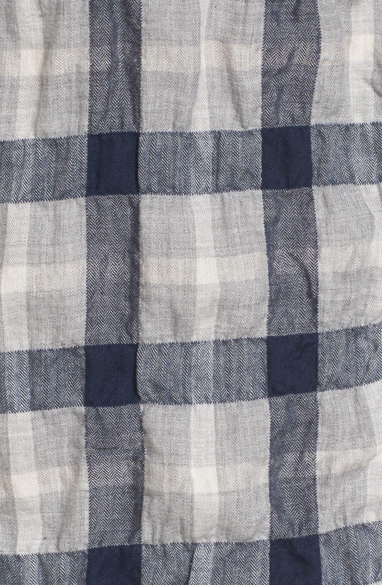 Truman Plaid Sport Shirt,                             Alternate thumbnail 5, color,                             Gray/ Navy/ White