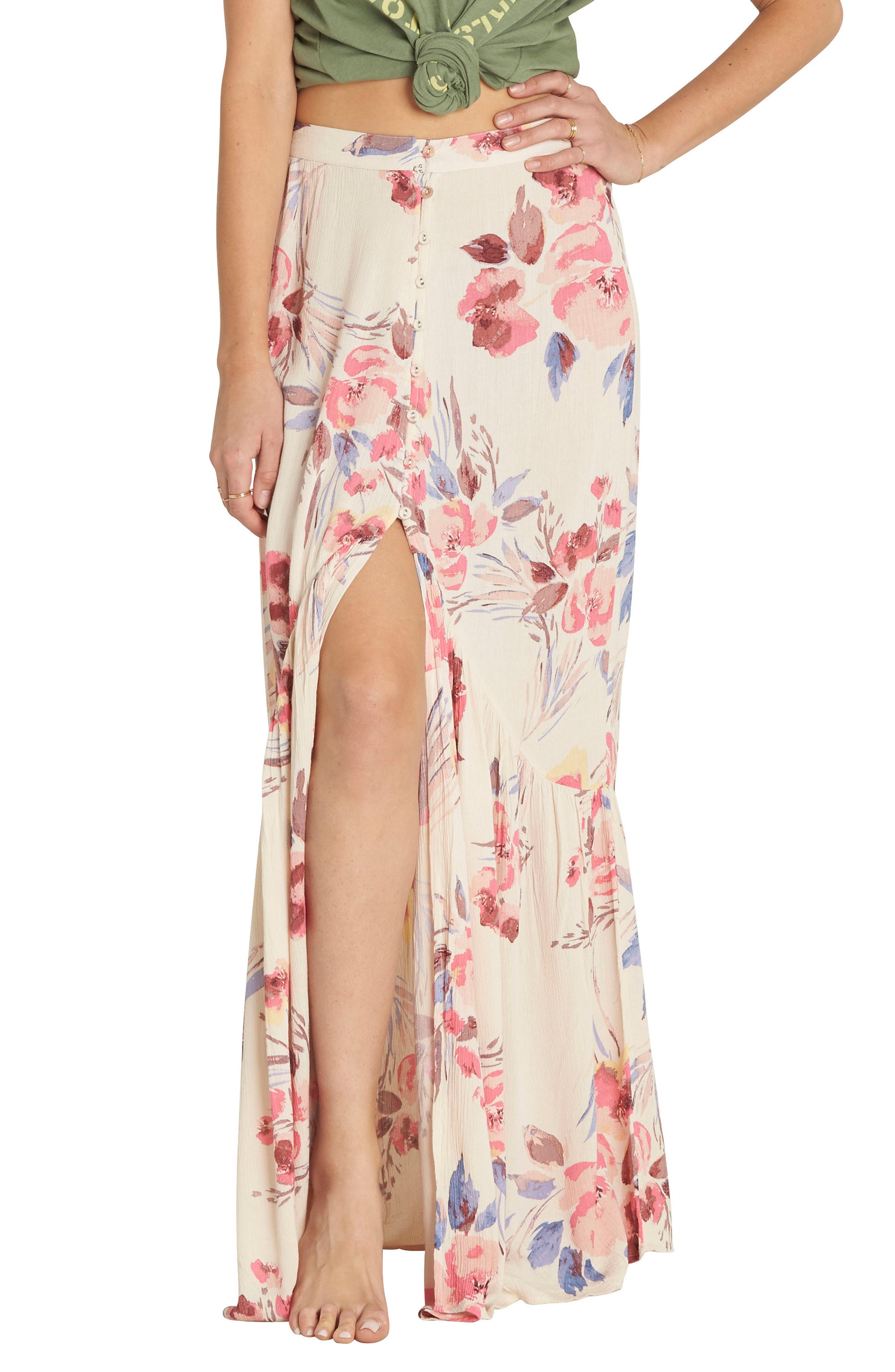Billabong Starlit Sky Floral Print Maxi Skirt