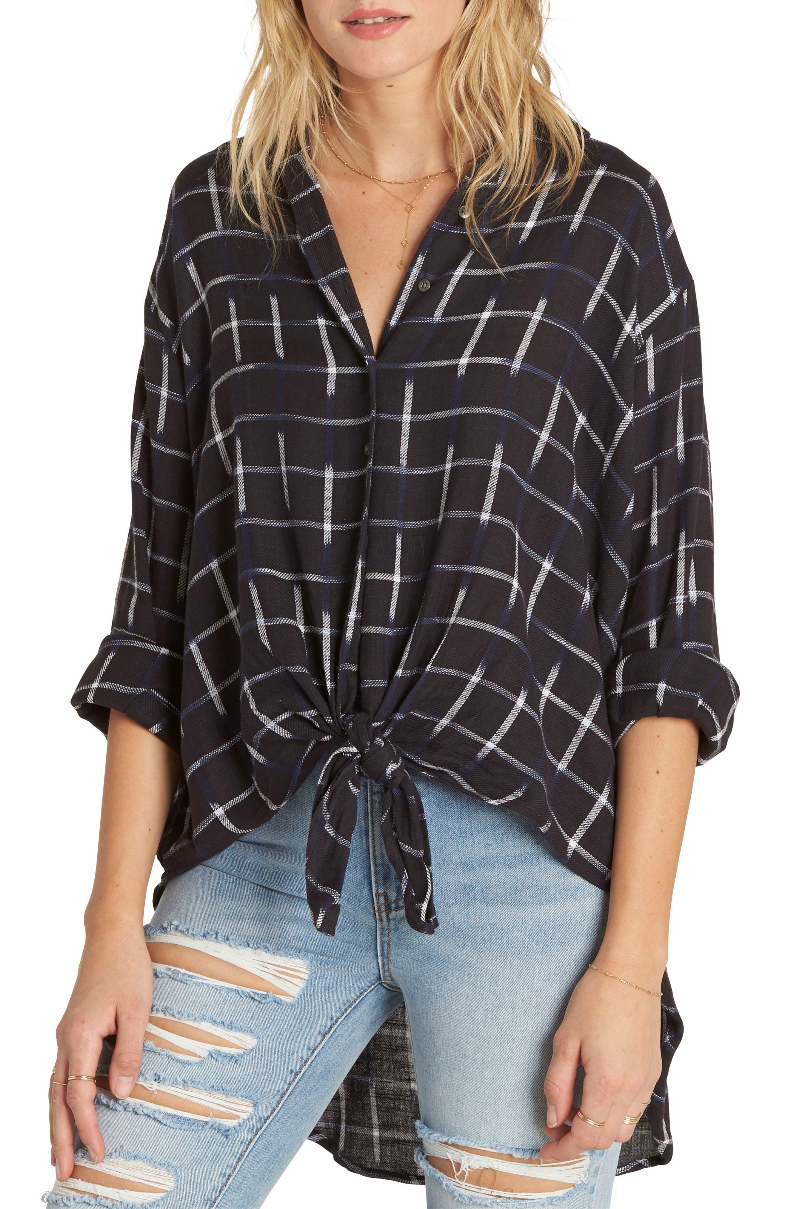 Cozy Nights Tie Front Shirt,                         Main,                         color, Off Black