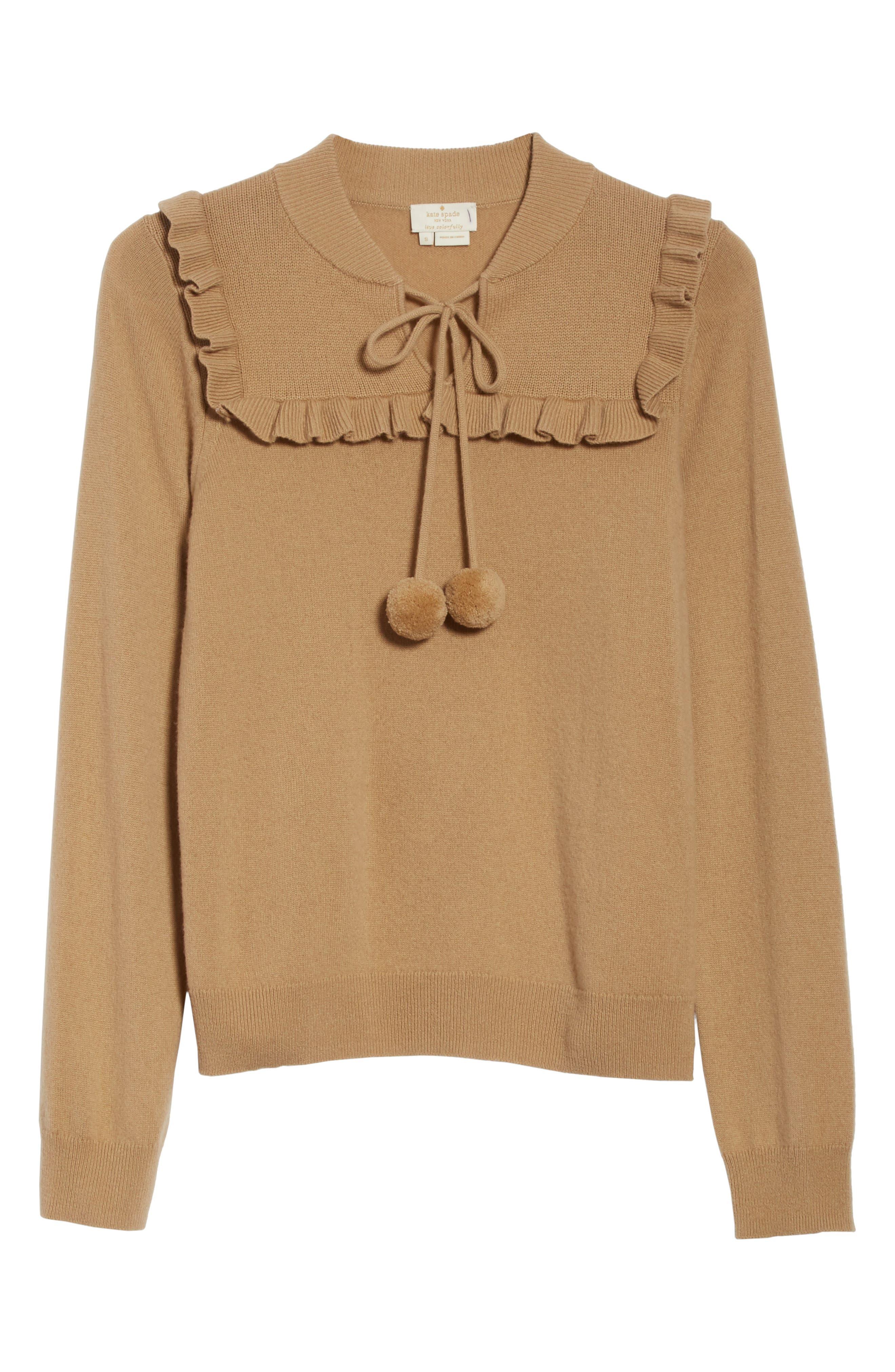 pompom wool & cashmere sweater,                             Alternate thumbnail 6, color,                             Adalia Camel