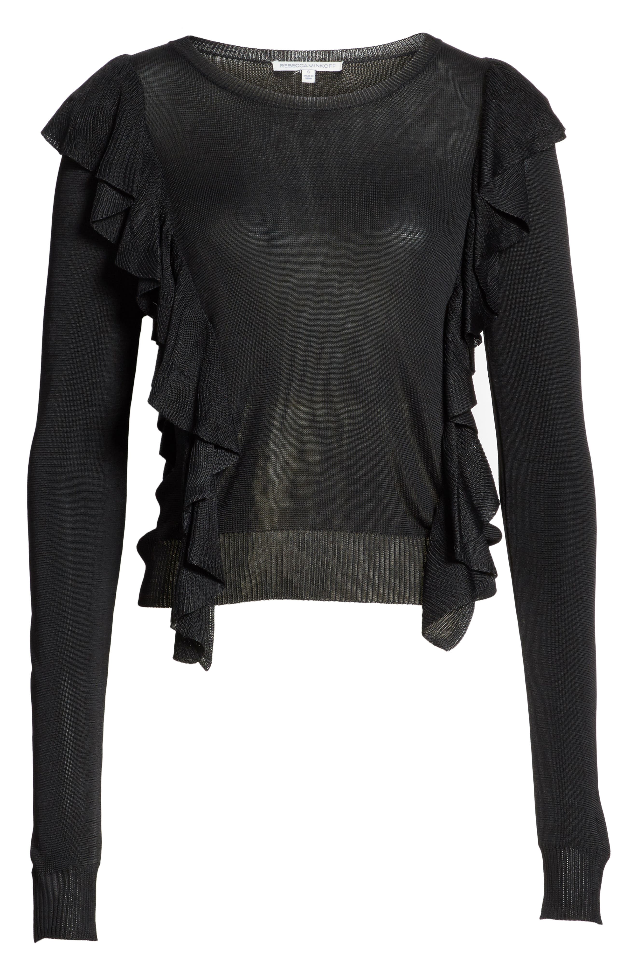 Lou Ruffle Sweater,                             Alternate thumbnail 6, color,                             Black