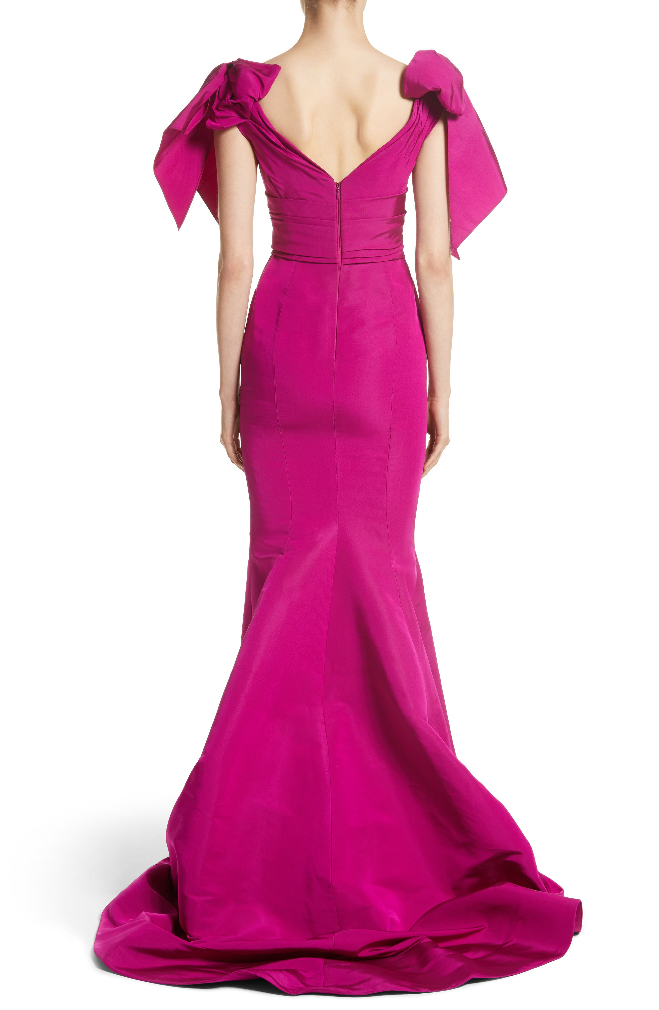 Bow Detail Faille Mermaid Gown,                             Alternate thumbnail 2, color,                             Fuchsia