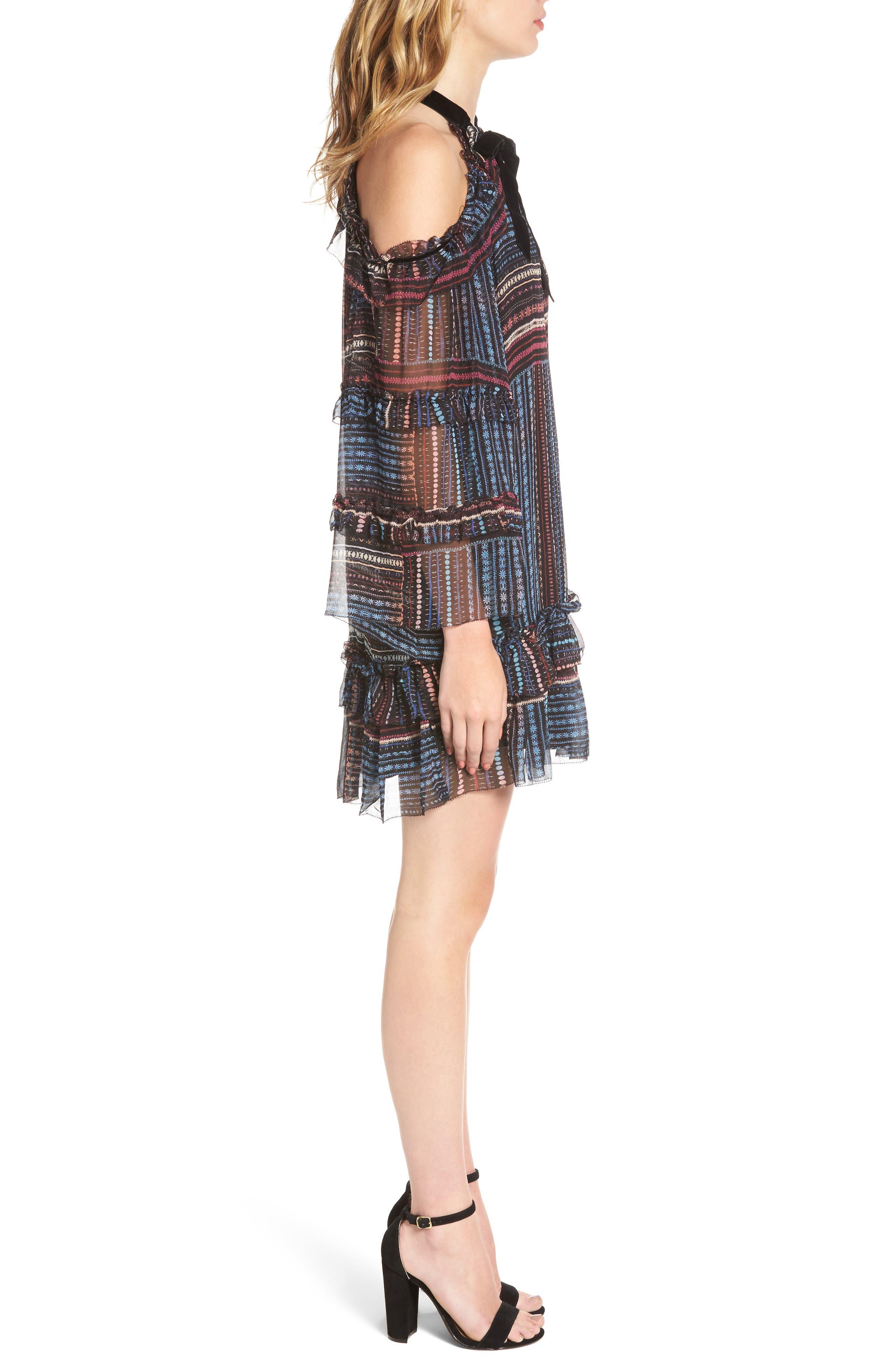 Alternate Image 3  - Parker Bianca Cold Shoulder Silk Shift Dress